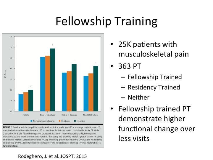 Physical Therapy Fellowship Training, Improved Outcomes, Less Visits
