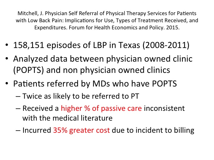physician owner physical therapy practice, low back pain,