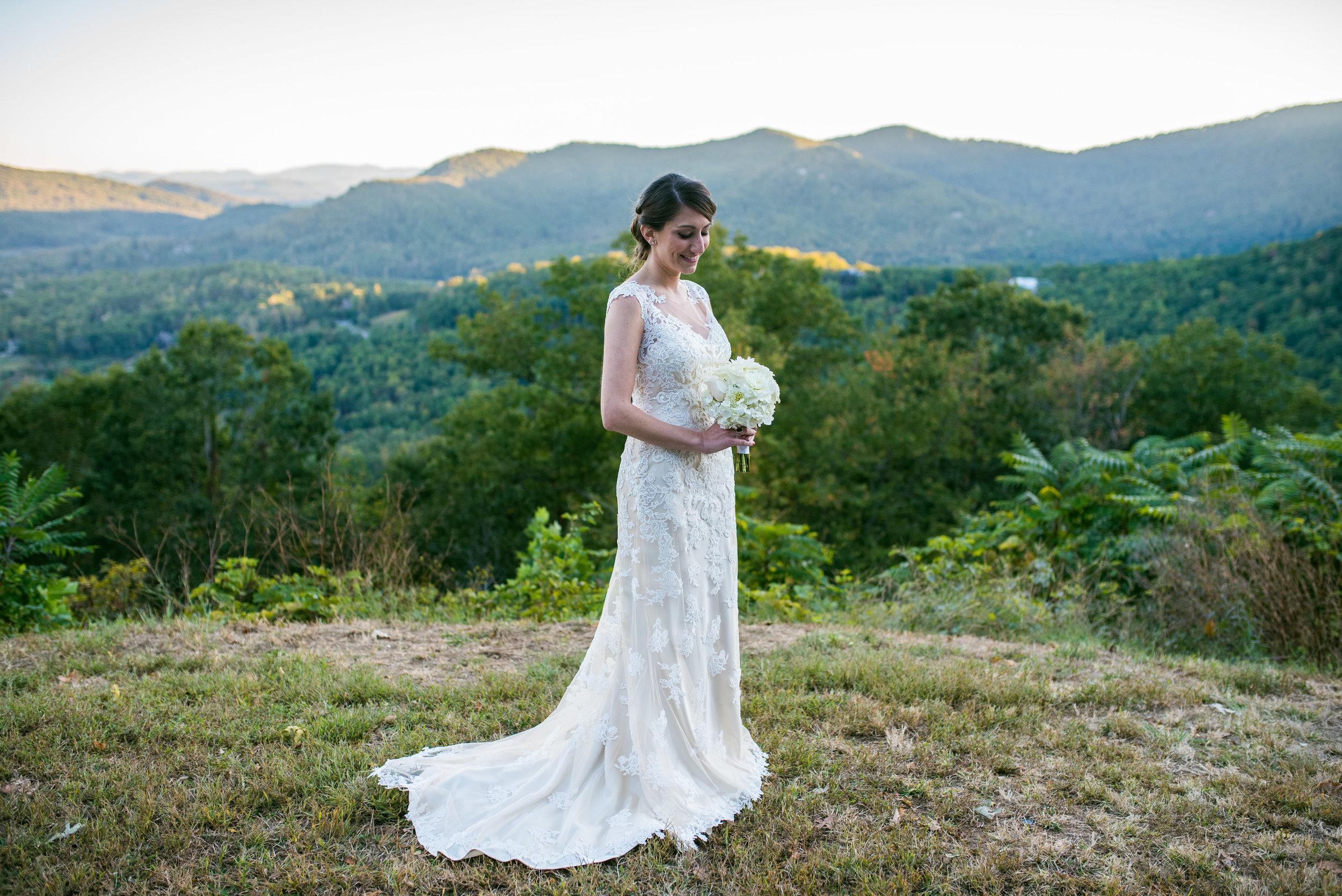 Mountaintop Bridal Portraits - Asheville Wedding Photographer