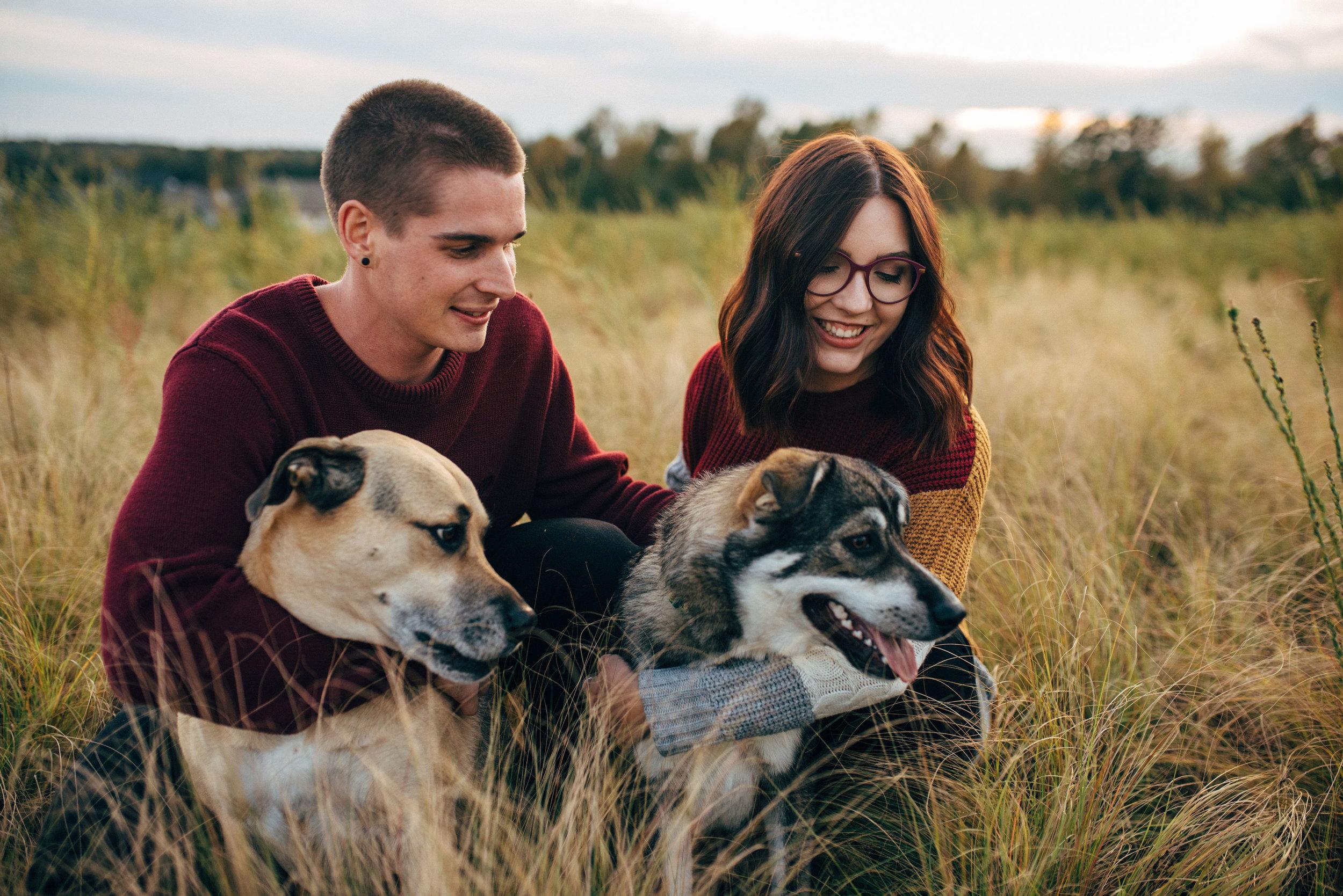 raleigh wedding photographer - north carolina wedding photographer - couple session with dogs