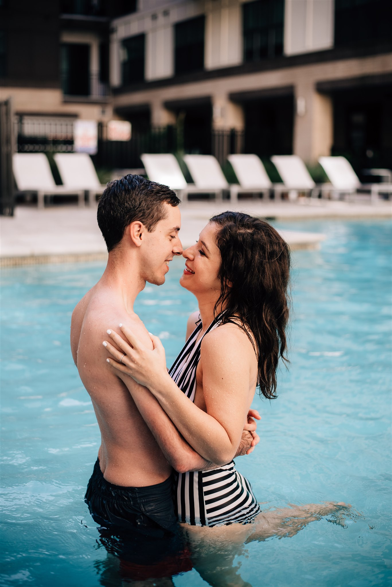 Raleigh Engagement Photographer - Raleigh Wedding Photographer - North Carolina Wedding Photographer - Pool Engagement Session - Pool Couple Session