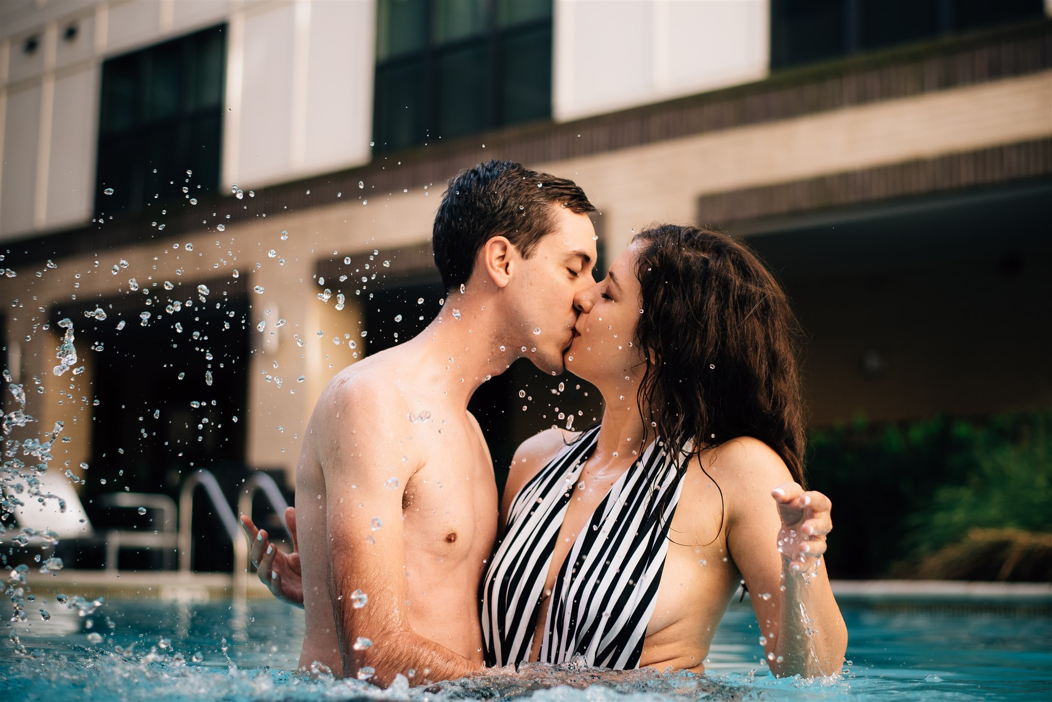 Raleigh Engagement Photographer - Raleigh Wedding Photographer - North Carolina Wedding Photographer - Pool Engagement Session - Pool Couple Session