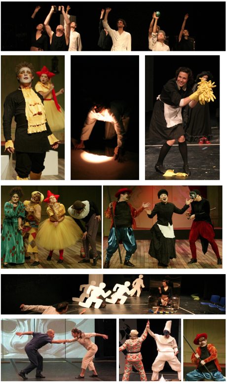 Pictured above: images from Dr. Faustus Lights the Lights, Scapin, The Maids, and Zibaldone: An Actor's Notebook on the Commedia dell'Arte