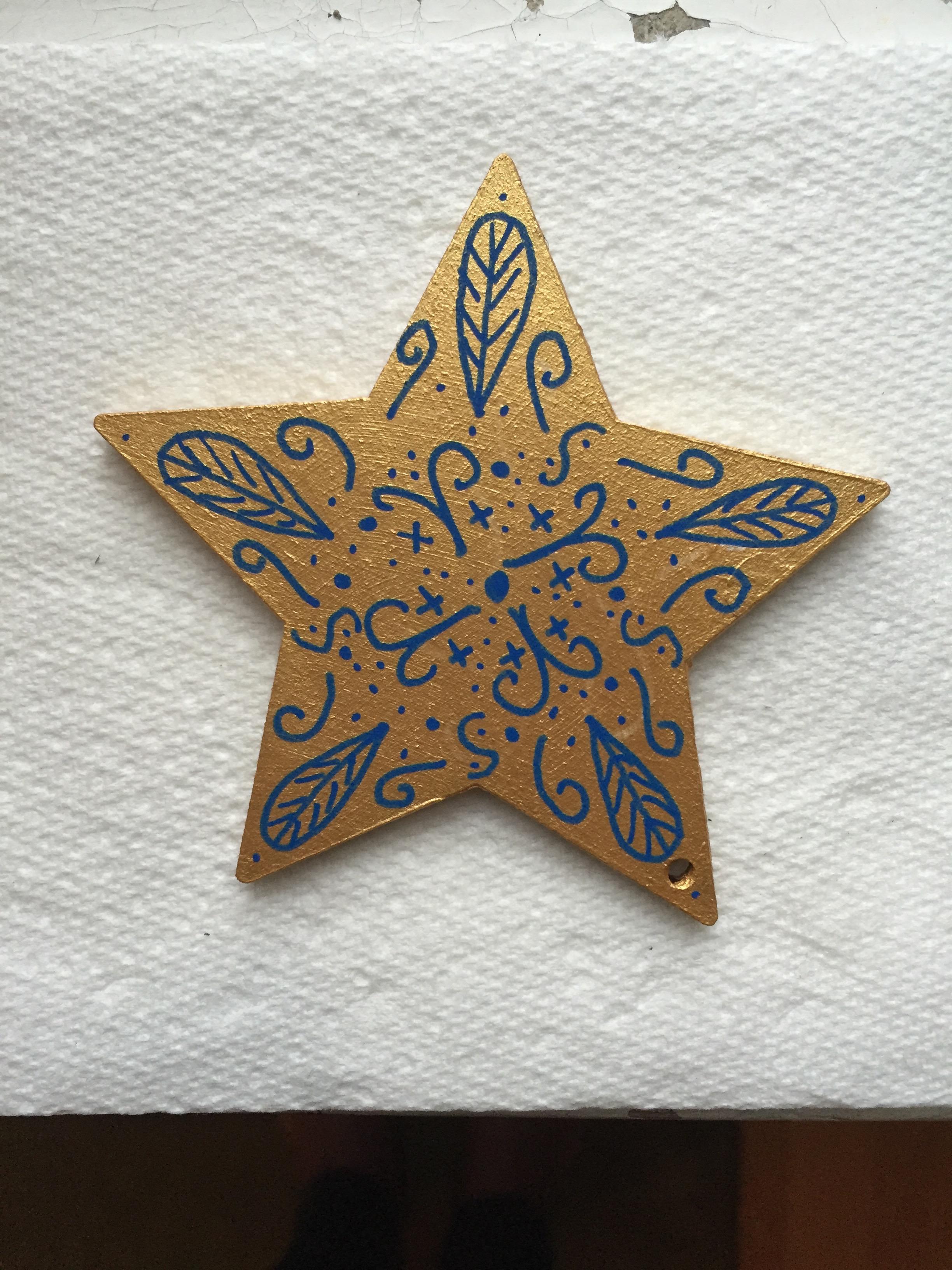 Hand painted christmas tree decoration.