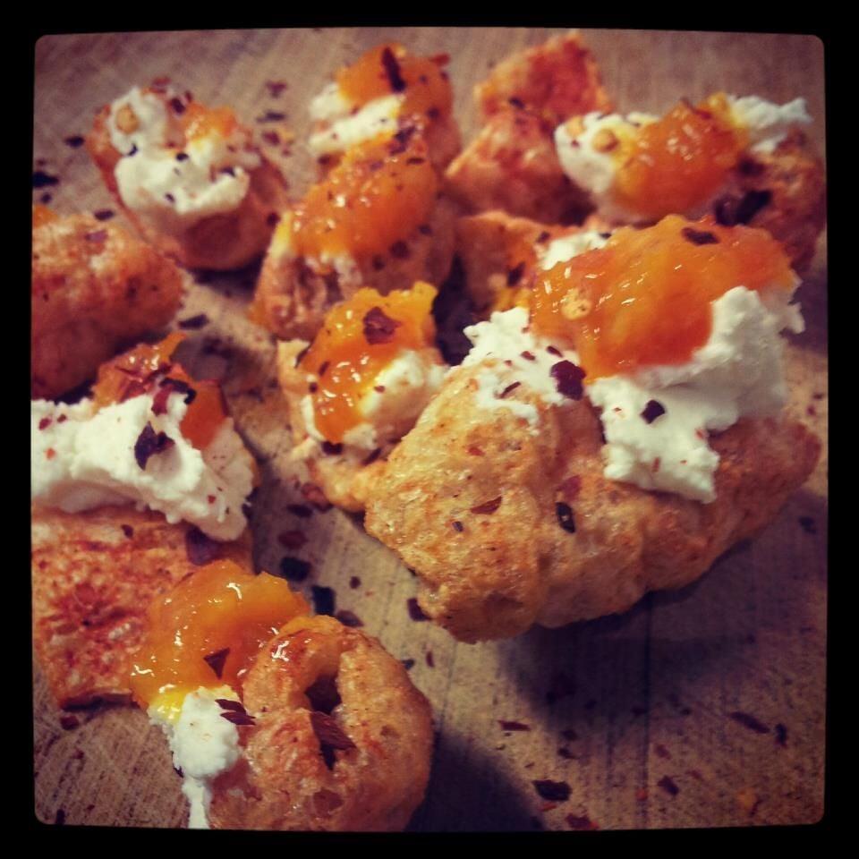 Chicharron, chevre, Forbidden Fruit Marmalade