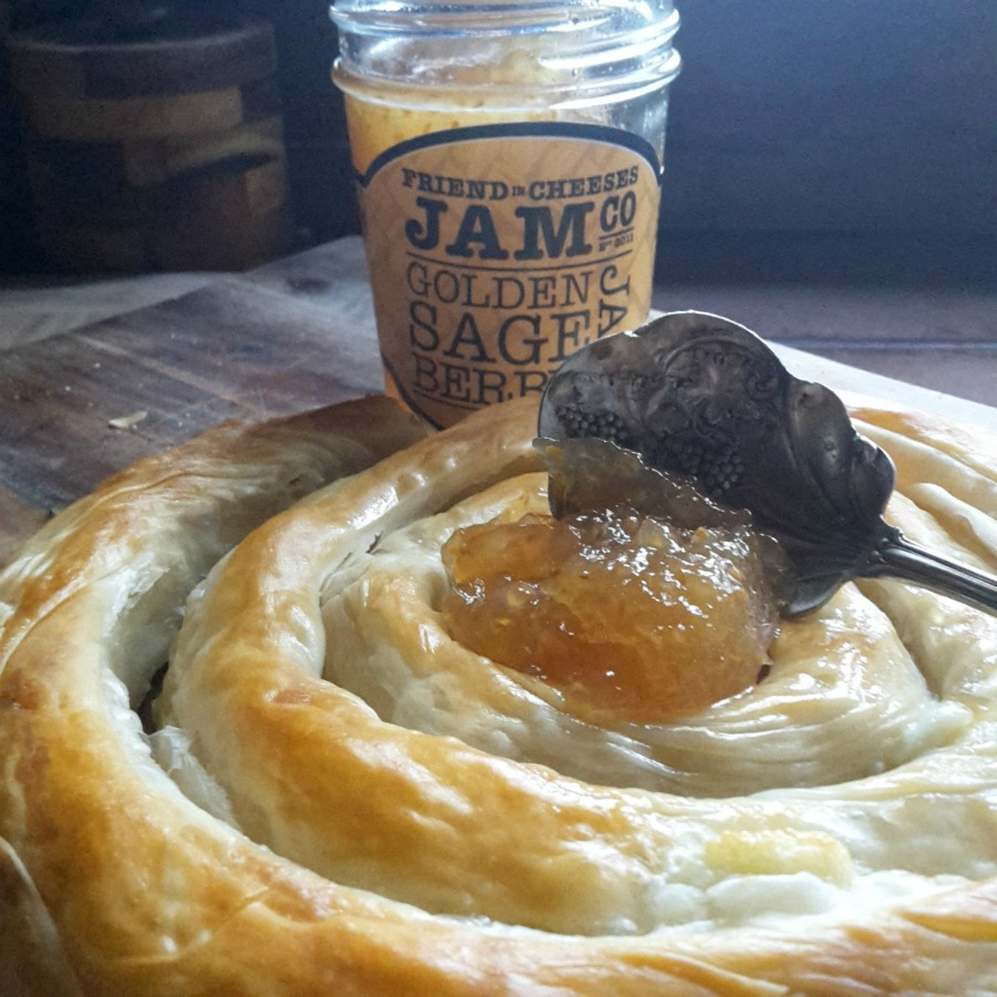This is AMAZING...Trader Joes has this cheese pastry in the freezer section...bake in oven and top with our Golden Sageberry! BOMB...