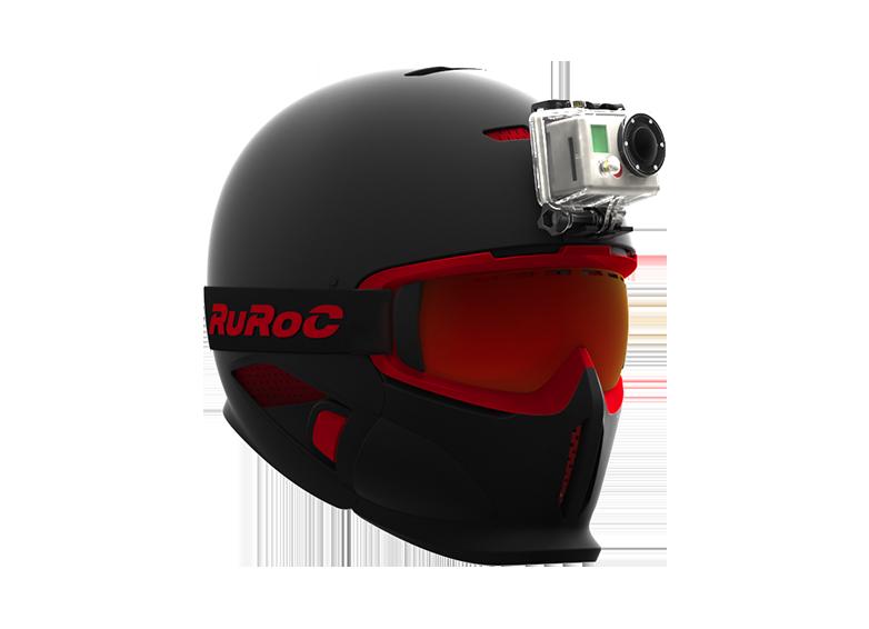 La fixation pour caméra - C'est un autre petit plus des Ruroc's. En enlevant la visière, on trouve dans son système de fixation une attache pour les caméras de sport. (type Gopro) Ça permet de fixer simplement la caméra et de filmer en POV.