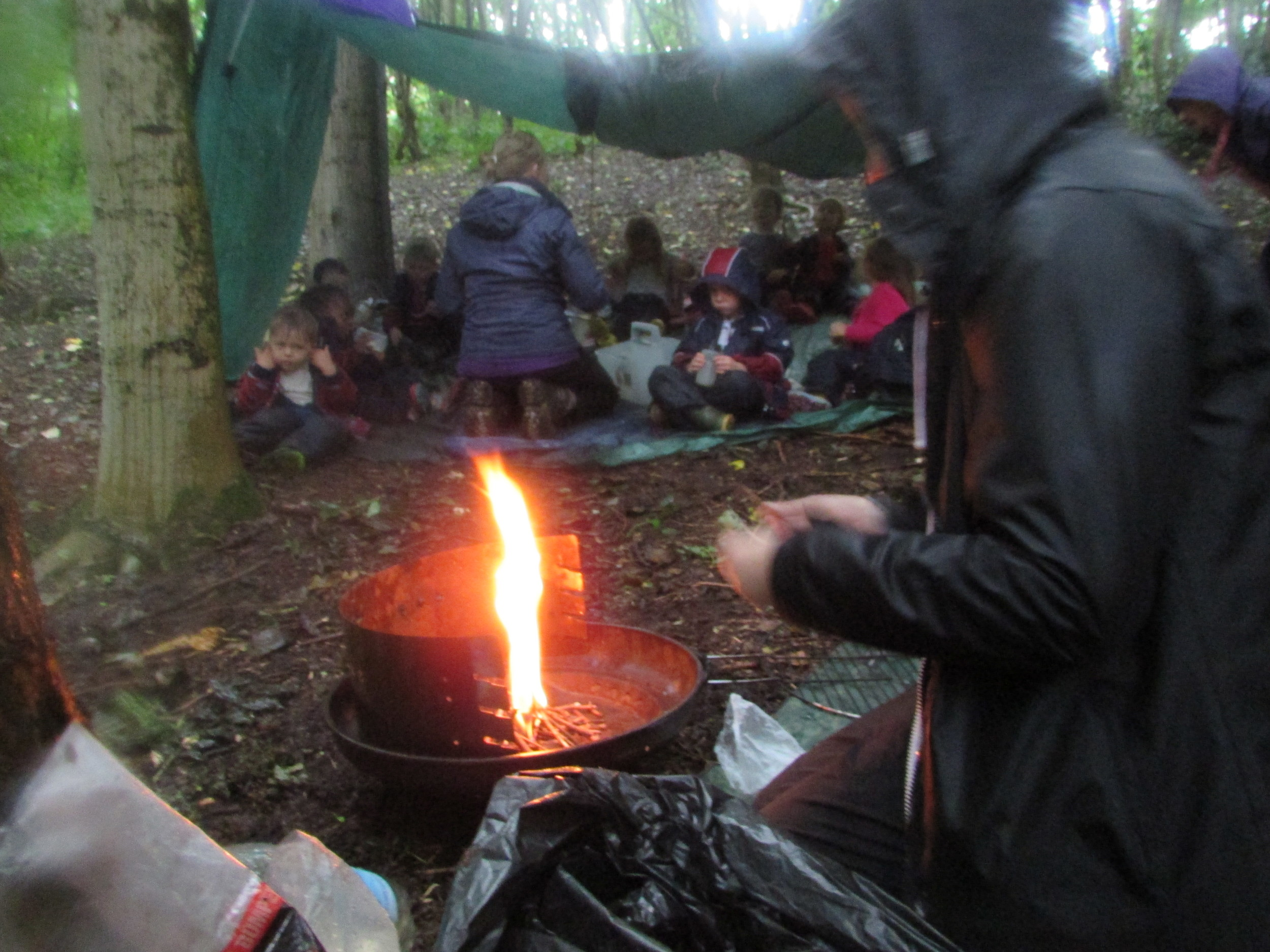 When it's raining but it's time for lunch, a well built shelter prevents soggy sandwiches!