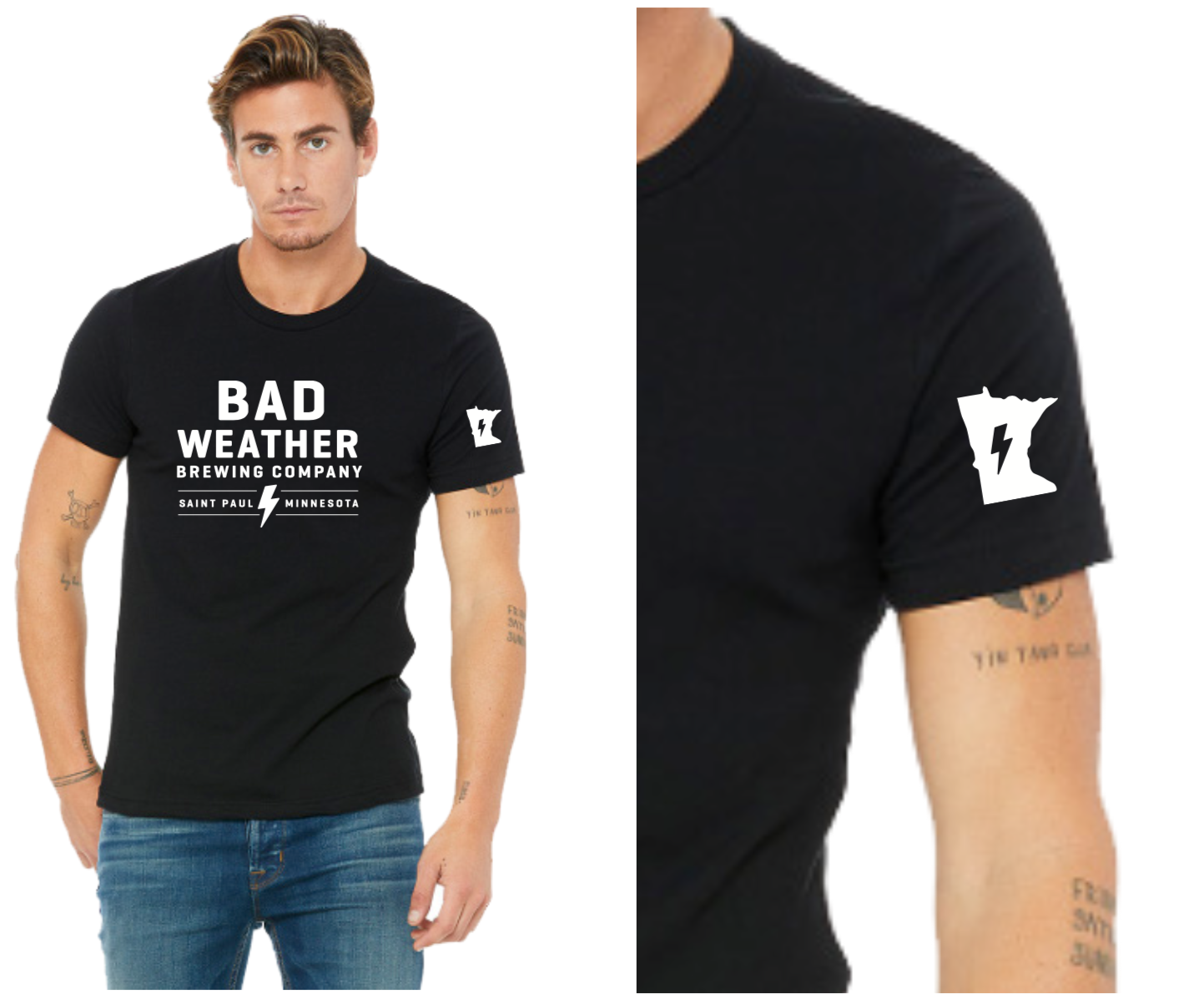 Black Shirt-Stacked Logo- $20