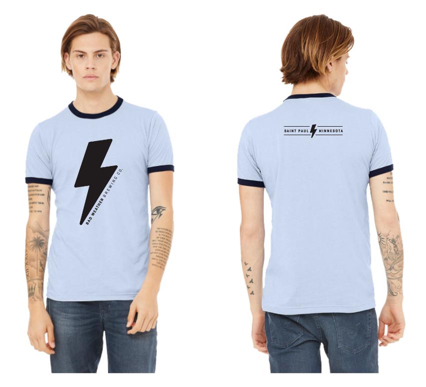 Blue Shirt Lightning Bolt $20