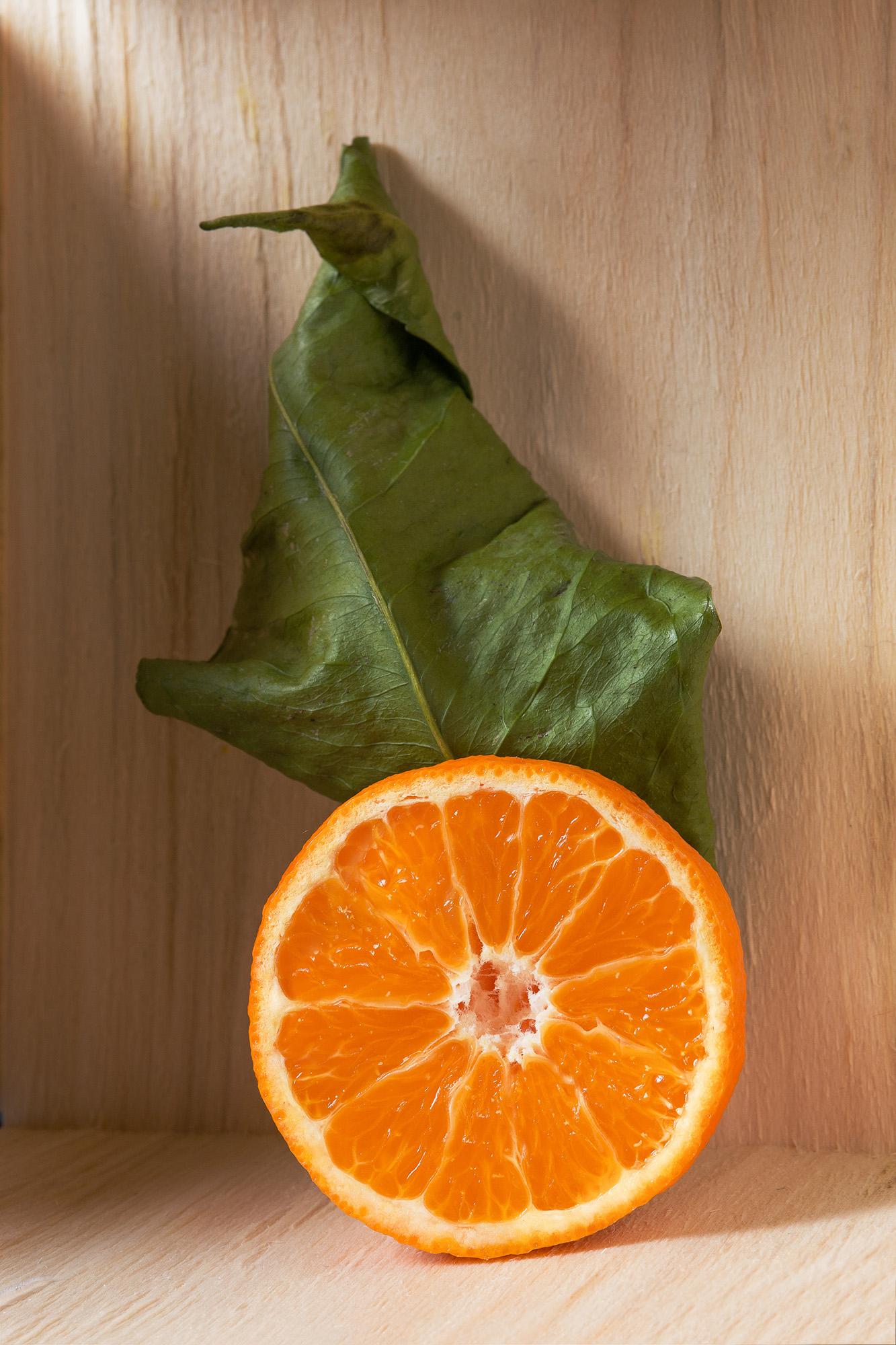 Mandarine aufgeschnitten in der Morgensonne