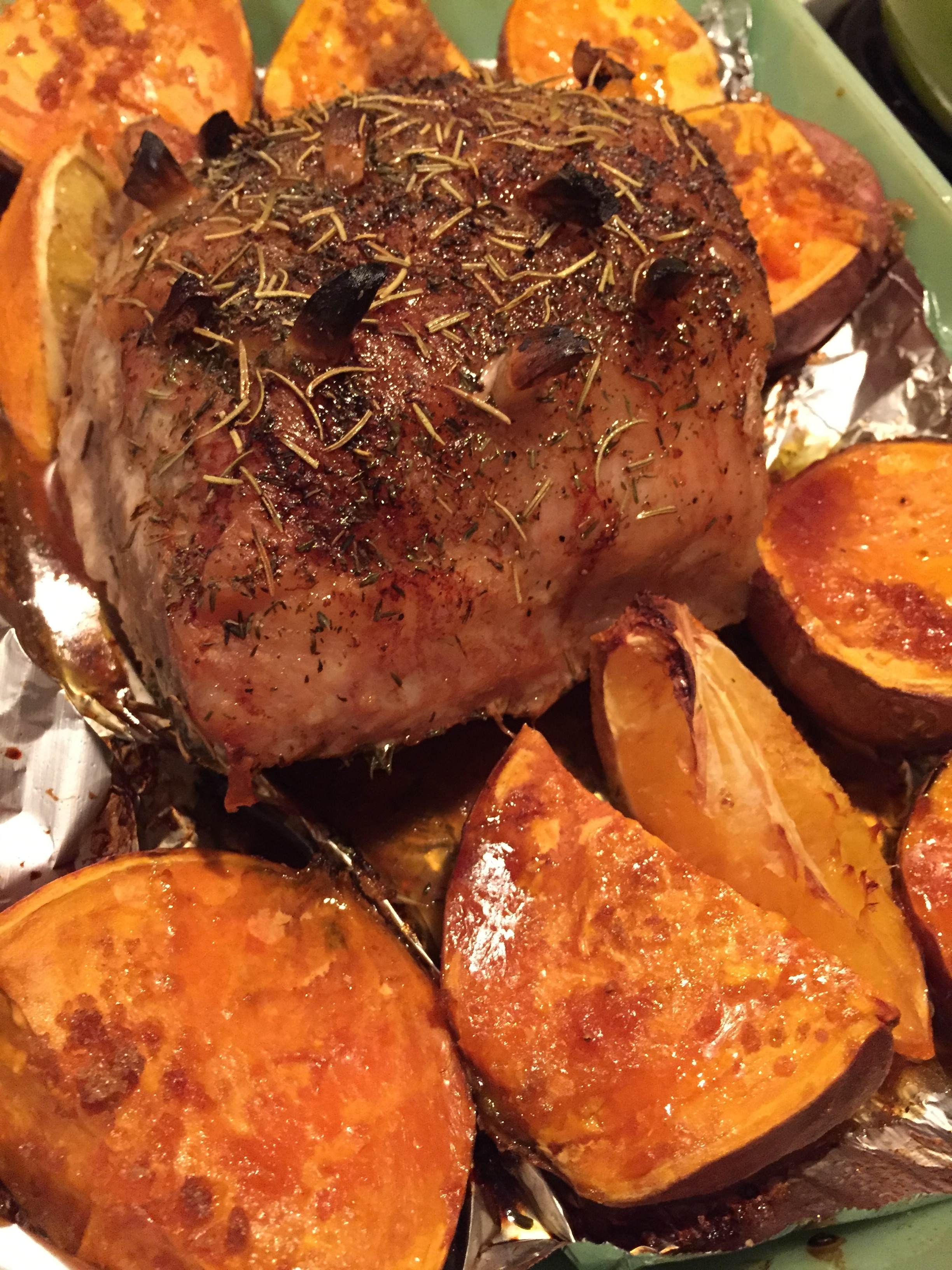 pork roast and brown sugar sweet potatoes, made in a defiant act of cooking for One