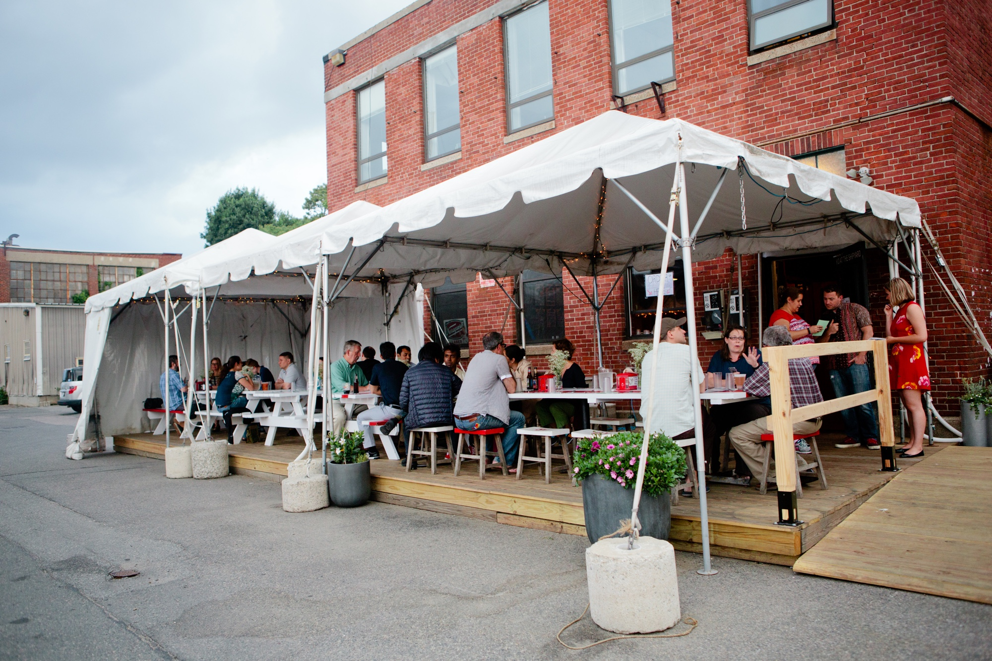 Guests arrive for our June 9 pop up at KO Pies in the East Boston Shipyard.