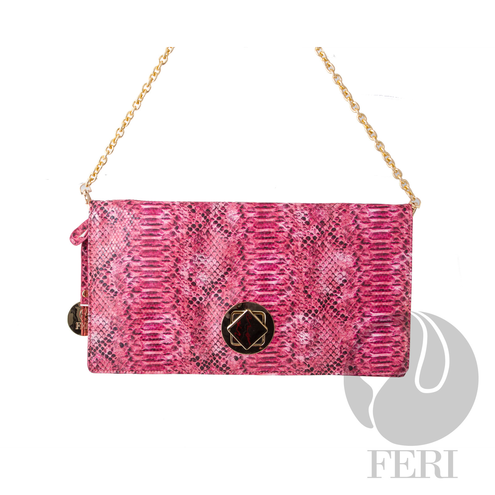 "- Faux leather envelope purse    - Snake skin print pattern   - Gold toned hardware and flap closure   - Removable chain strap    - Custom FERI lining   - Dimension: 15.35"" x 8.27"" x 1.2"""