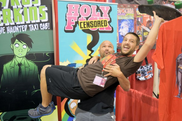 Nick Marino being held aloft by Dave Dwonch of Action Lab.