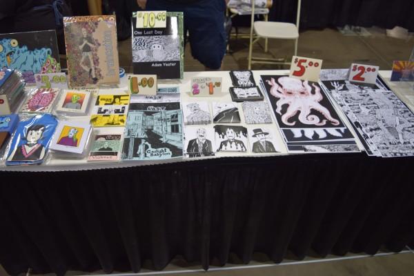 Adam Yeater's table at Phoenix Comic Con 2016.