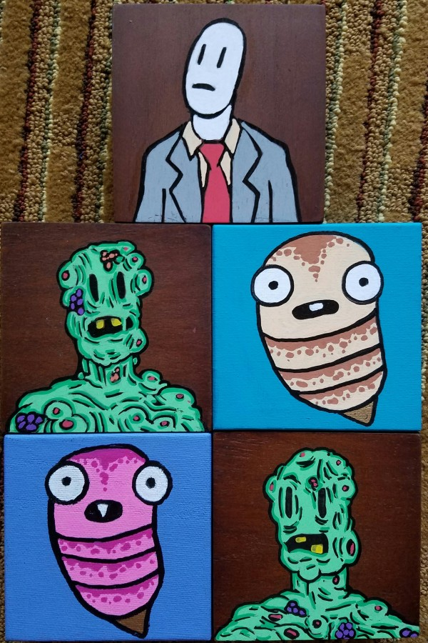 Paintings by Adam Yeater on canvas and wood blocks.
