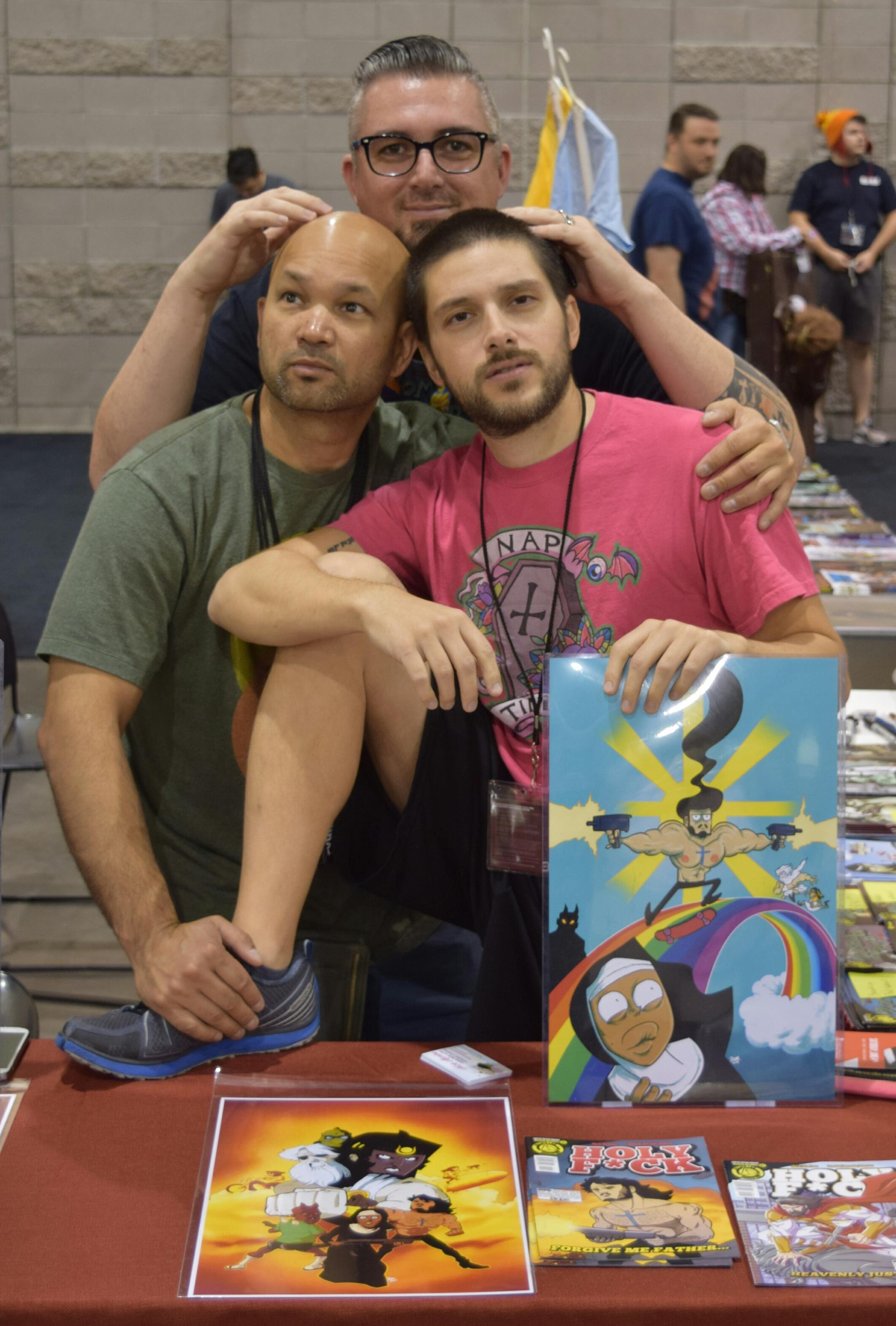 Dave Dwonch (left), Nick Marino (right), and Dan Mendoza (back) at Phoenix Comic Con 2016 (3).