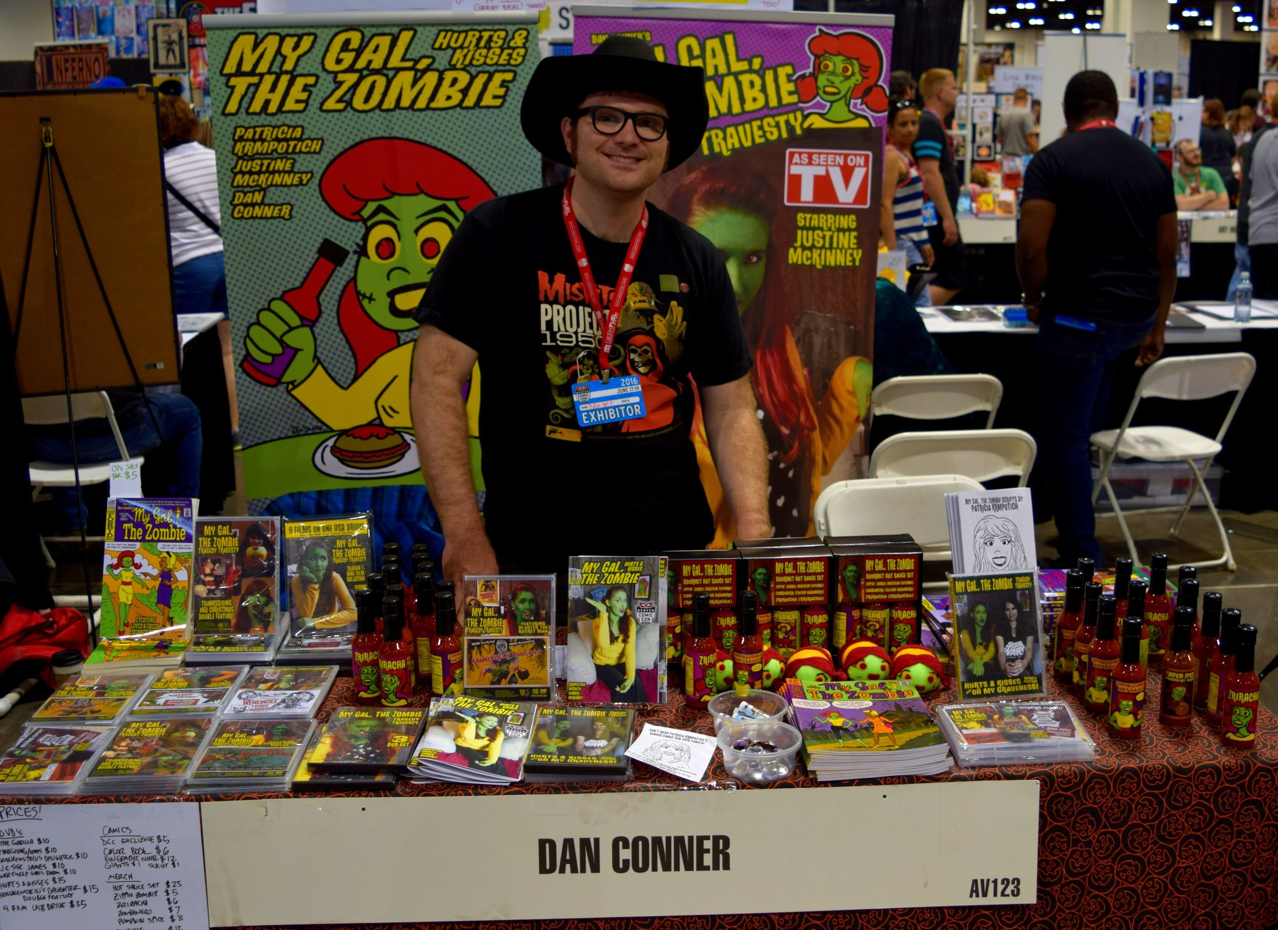 Dan Conner with his books at Denver Comic Con 2016.
