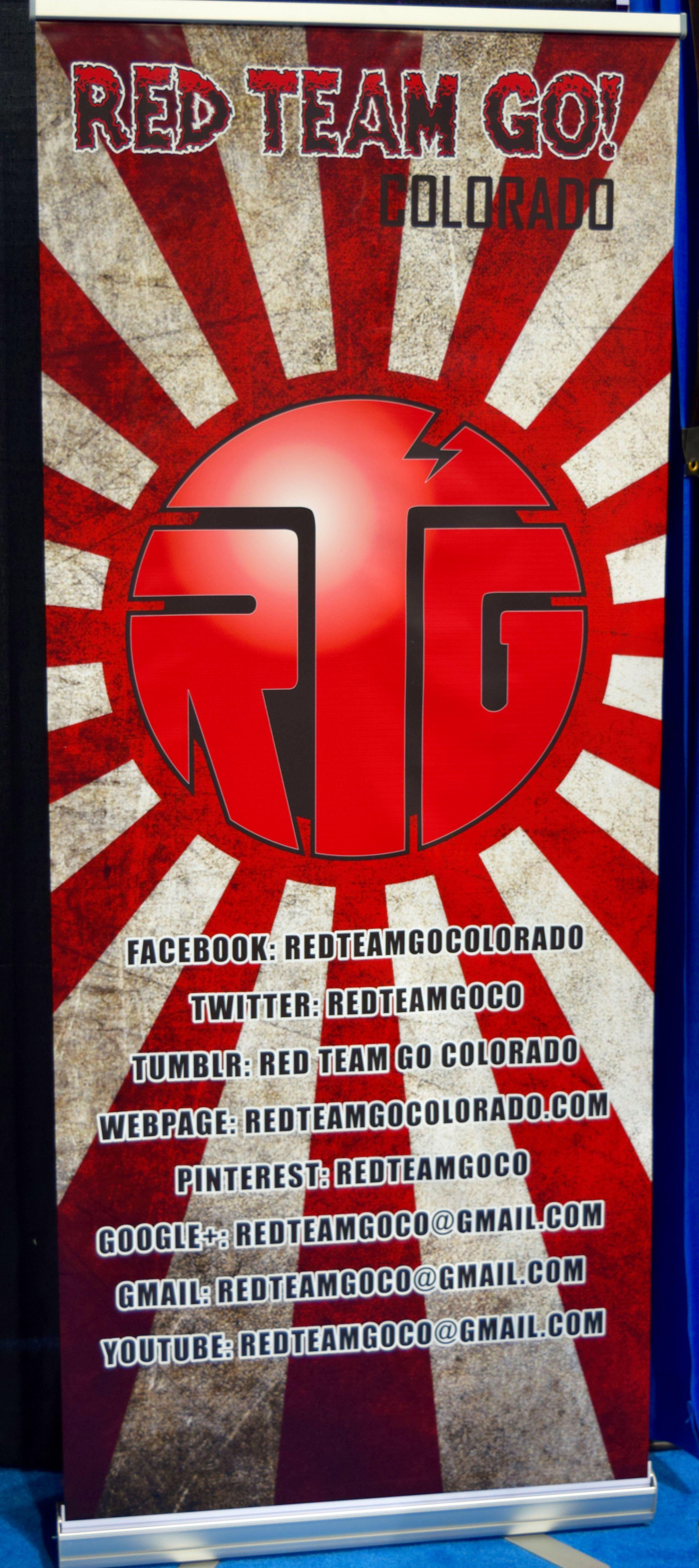 Red Team Go Colorado banner at Denver Comic Con 2016.