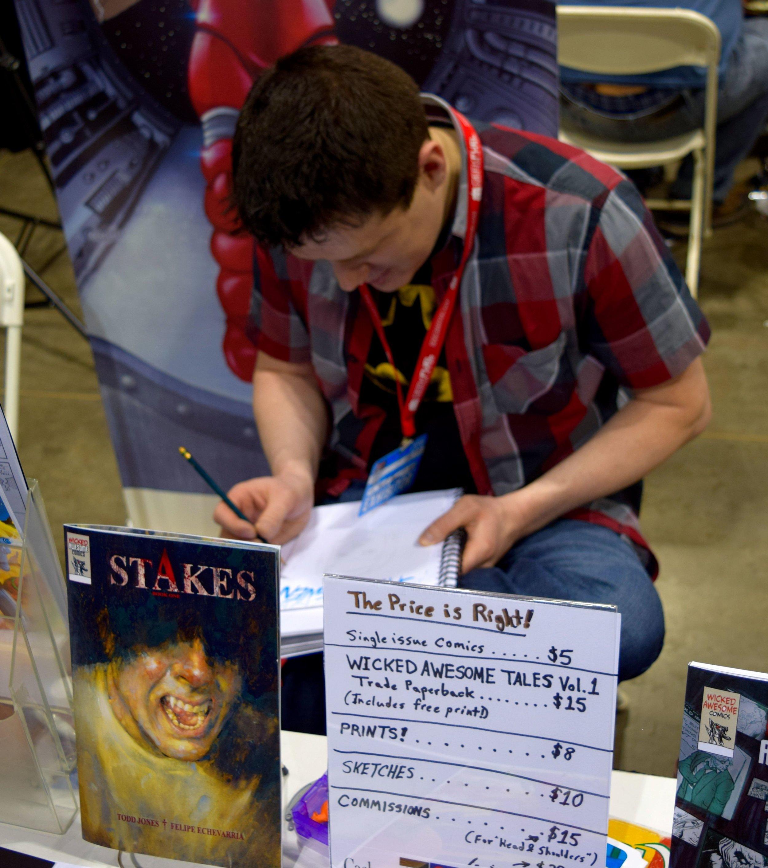 Todd Jones drawing at Denver Comic Con 2016.