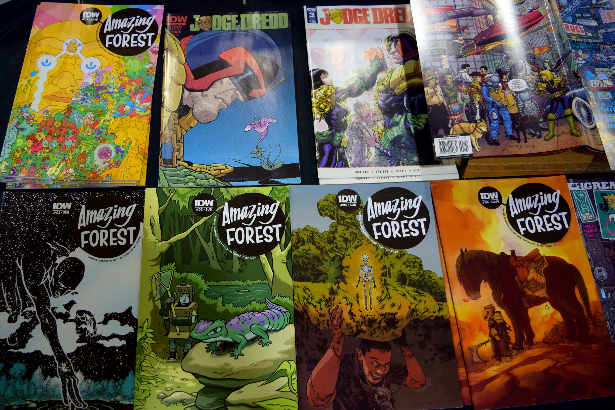 Judge Dredd & Amazing Forest comics from Ulises Farinas at Fort Collins Comic Con 2016.
