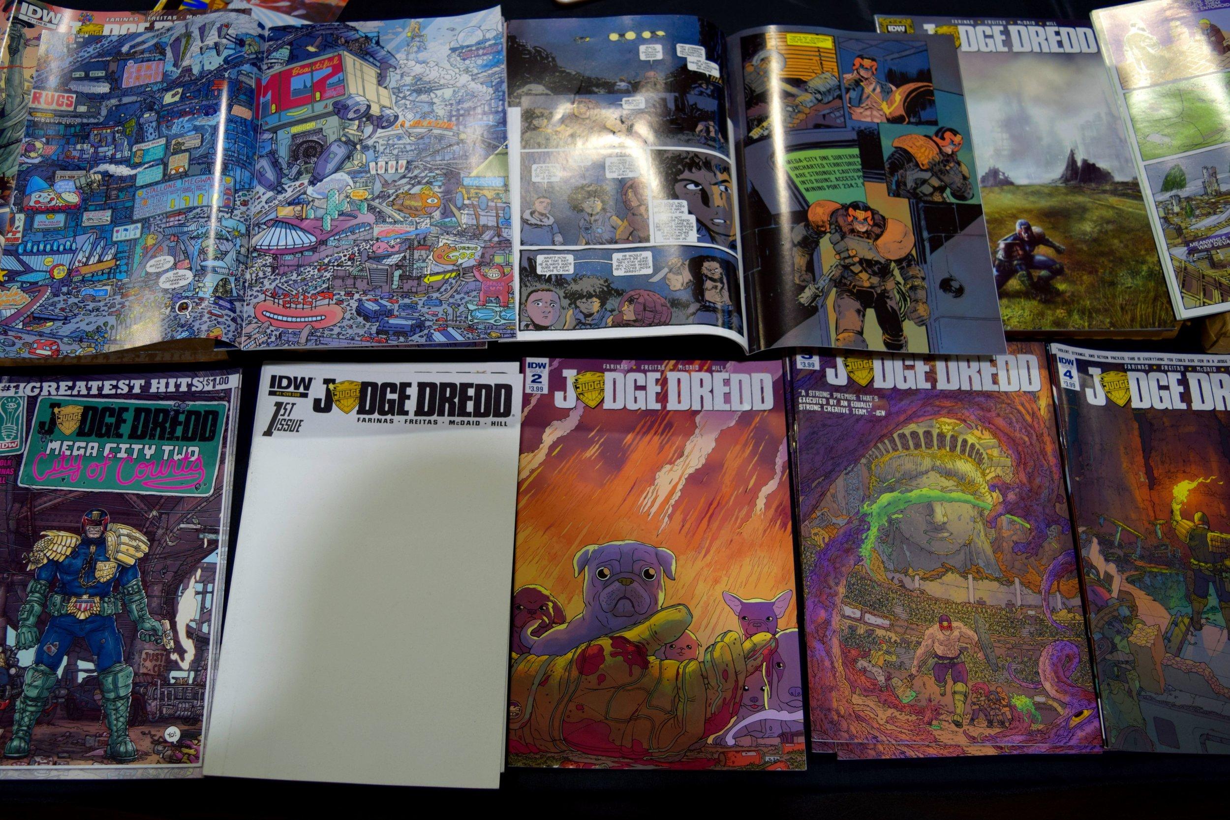 Judge Dredd comics from Ulises Farinas at Fort Collins Comic Con 2016.