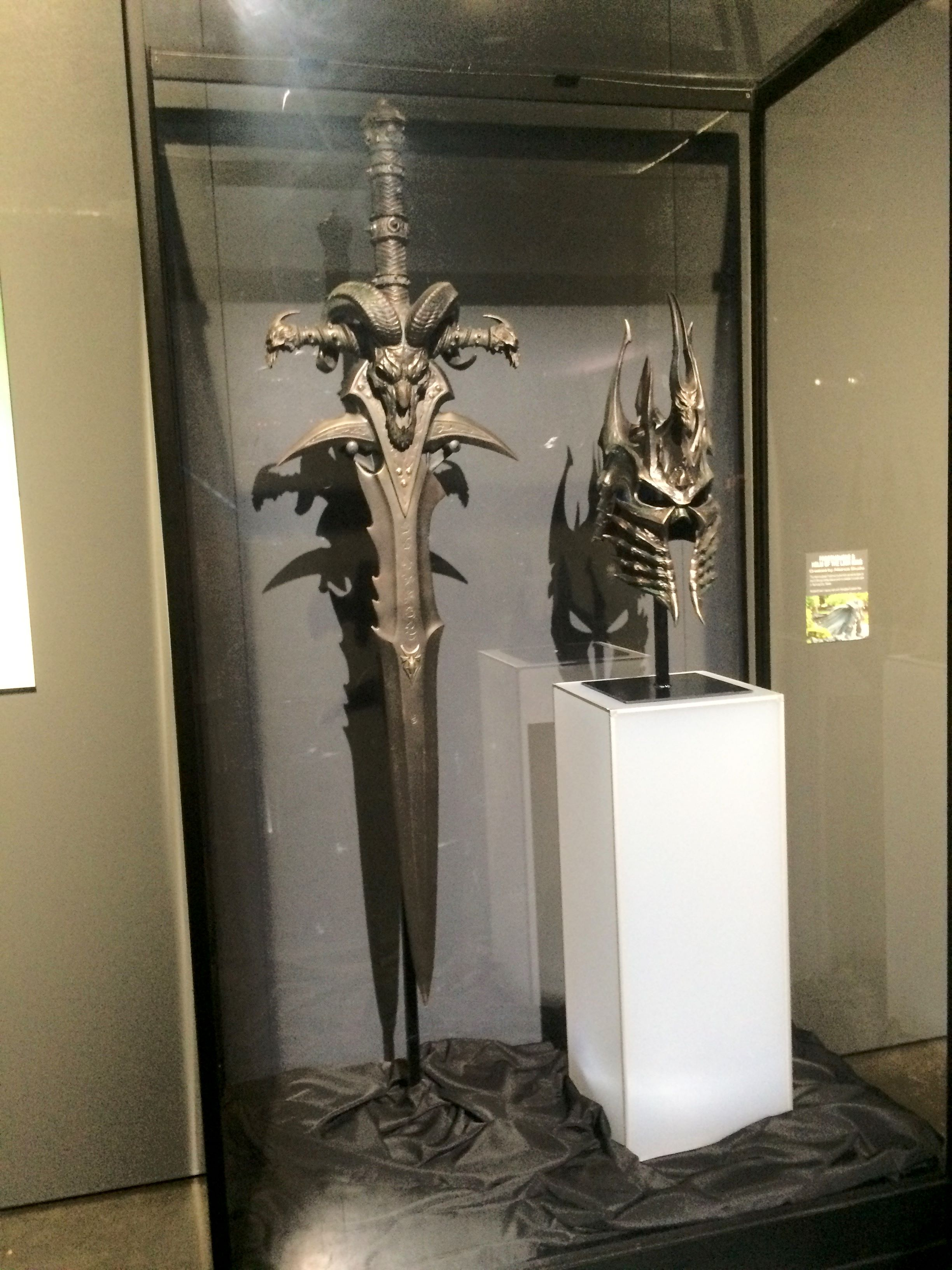 Frostmourne and Helm of Domination replicas from World of Warcraft at BlizzCon 2017.