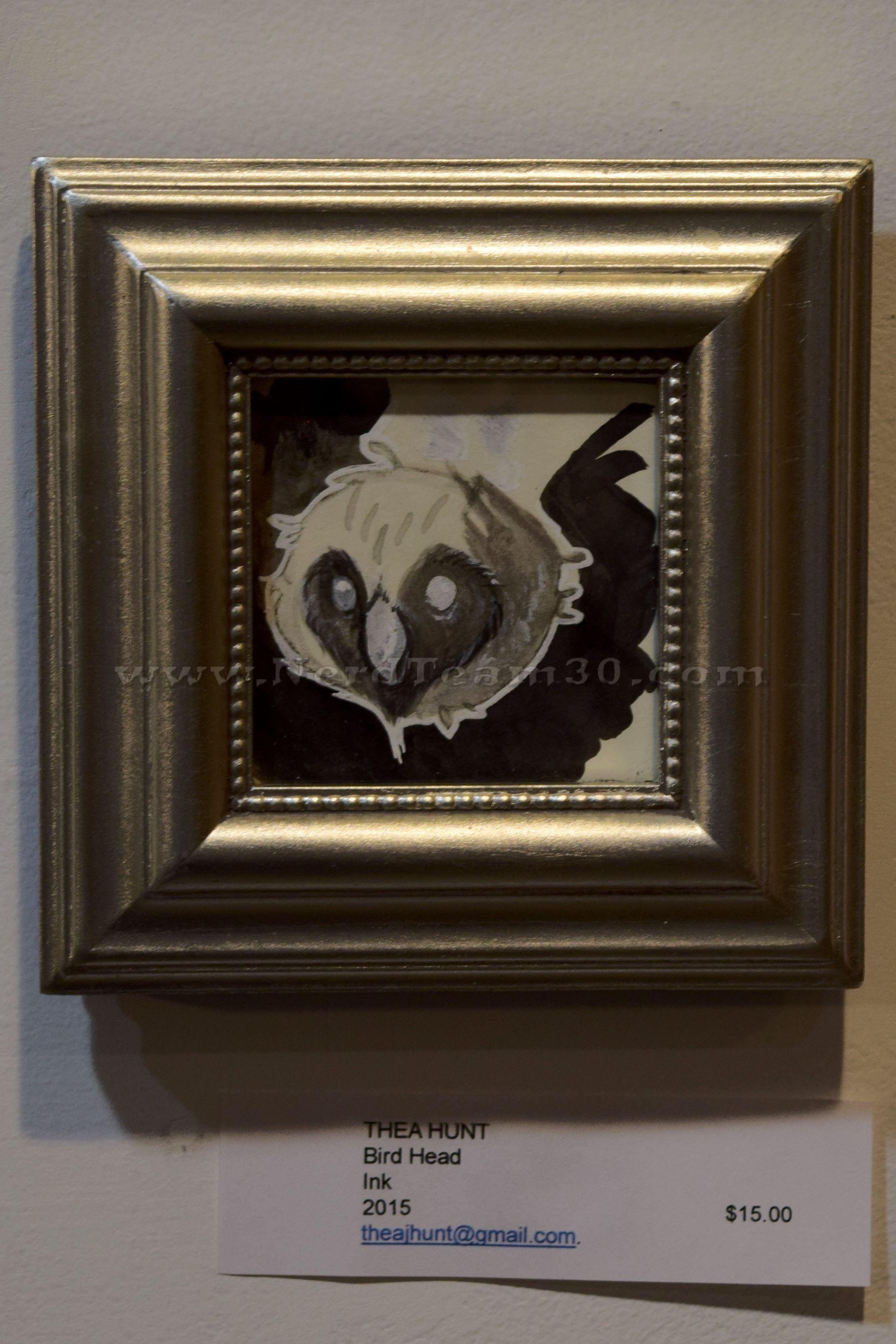 """Thea Hunt """"Bird Head"""" Ink 2015   $15 theajhunt@gmail.com"""