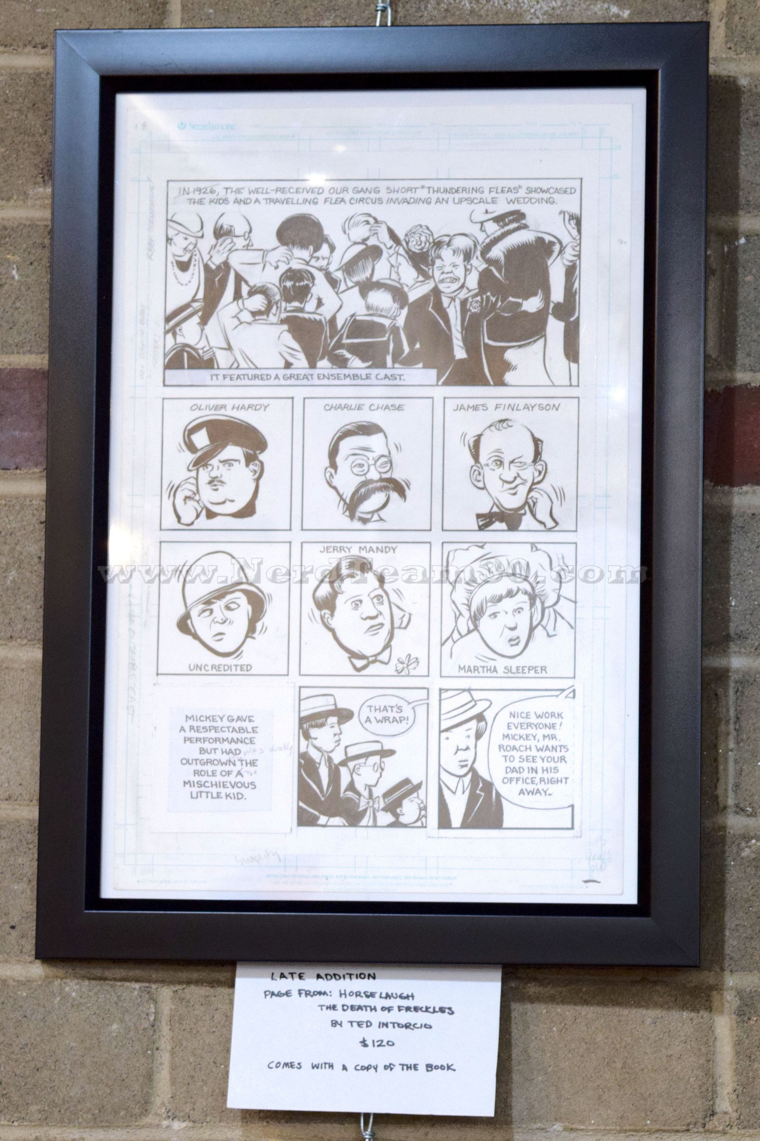 """Ted Intorcio a page from """"Horselaugh: The Death of Freckles"""" Inked drawing on blue line paper  ?   $120"""