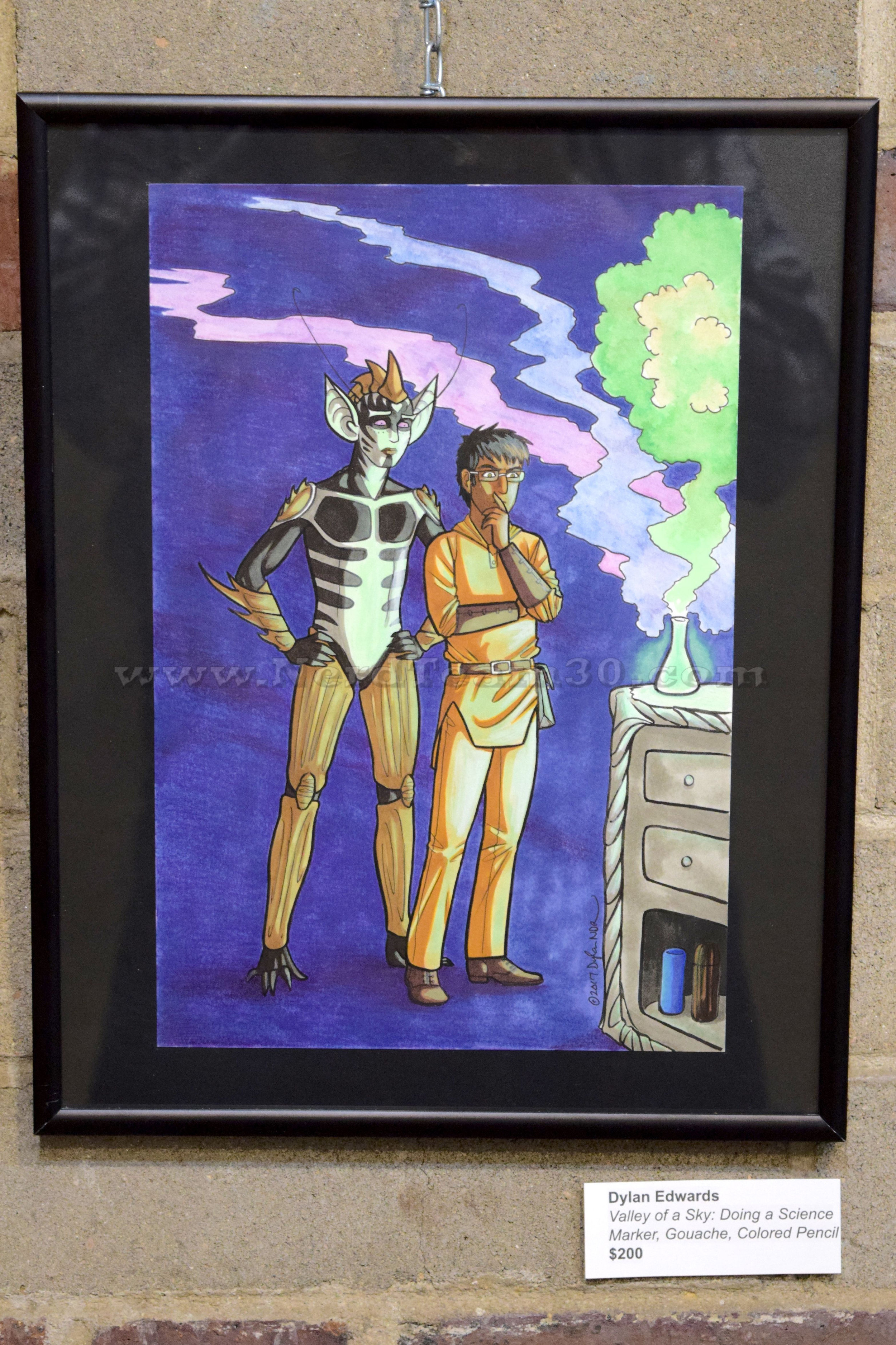 """Dylan Edwards """"Valley of a Sky: Doing A Science"""" Marker, gouache, and colored pencil  ?   $200"""