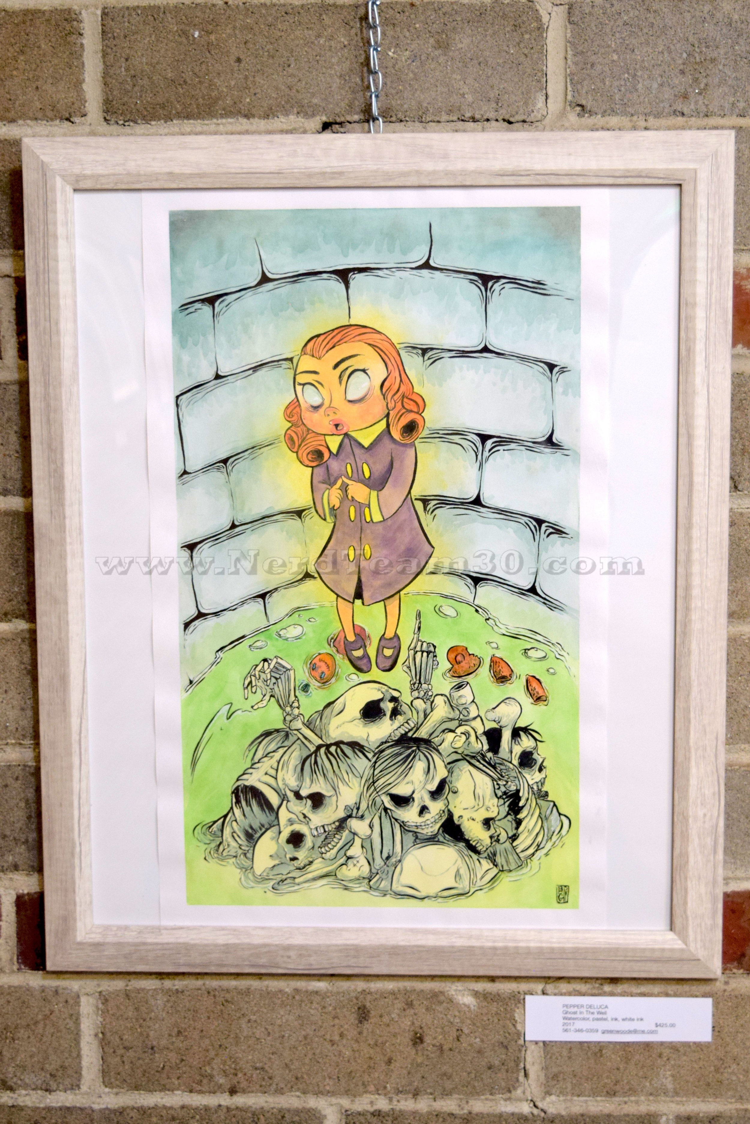 """Pepper DeLuca """"Ghost In the Well"""" Watercolor, pastel, ink, and white ink 2017   $425"""