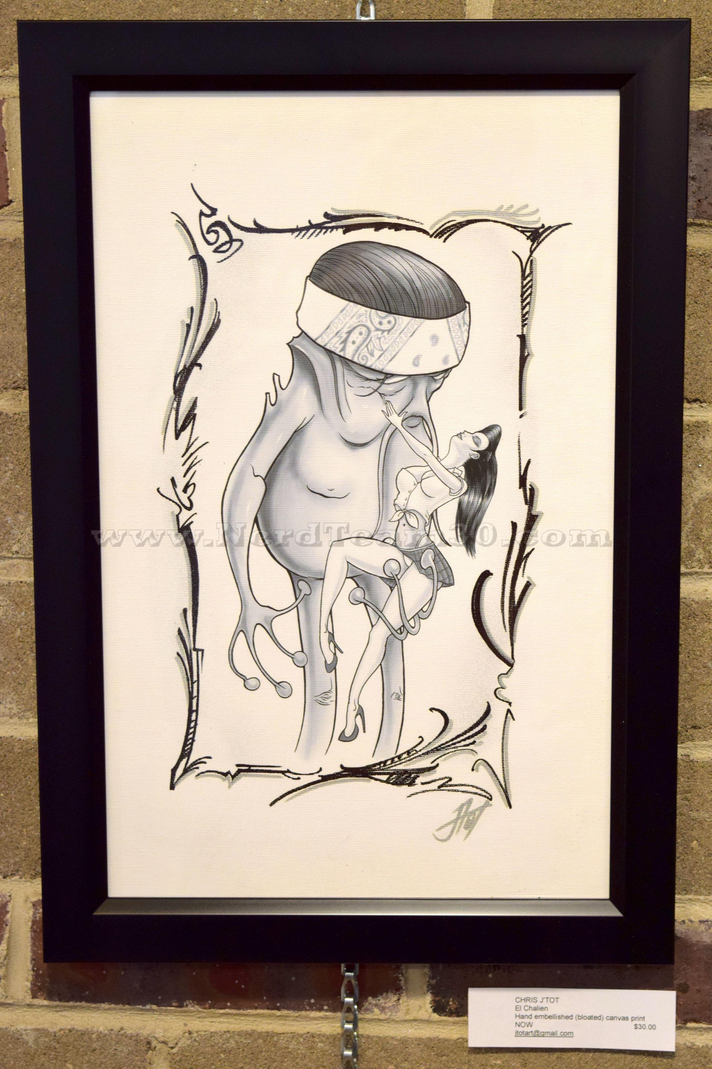 """Chris J'Tot """"El Chalien"""" Hand embellished (bloated) canvas print 2017   $30 jtotart@gmail.com"""