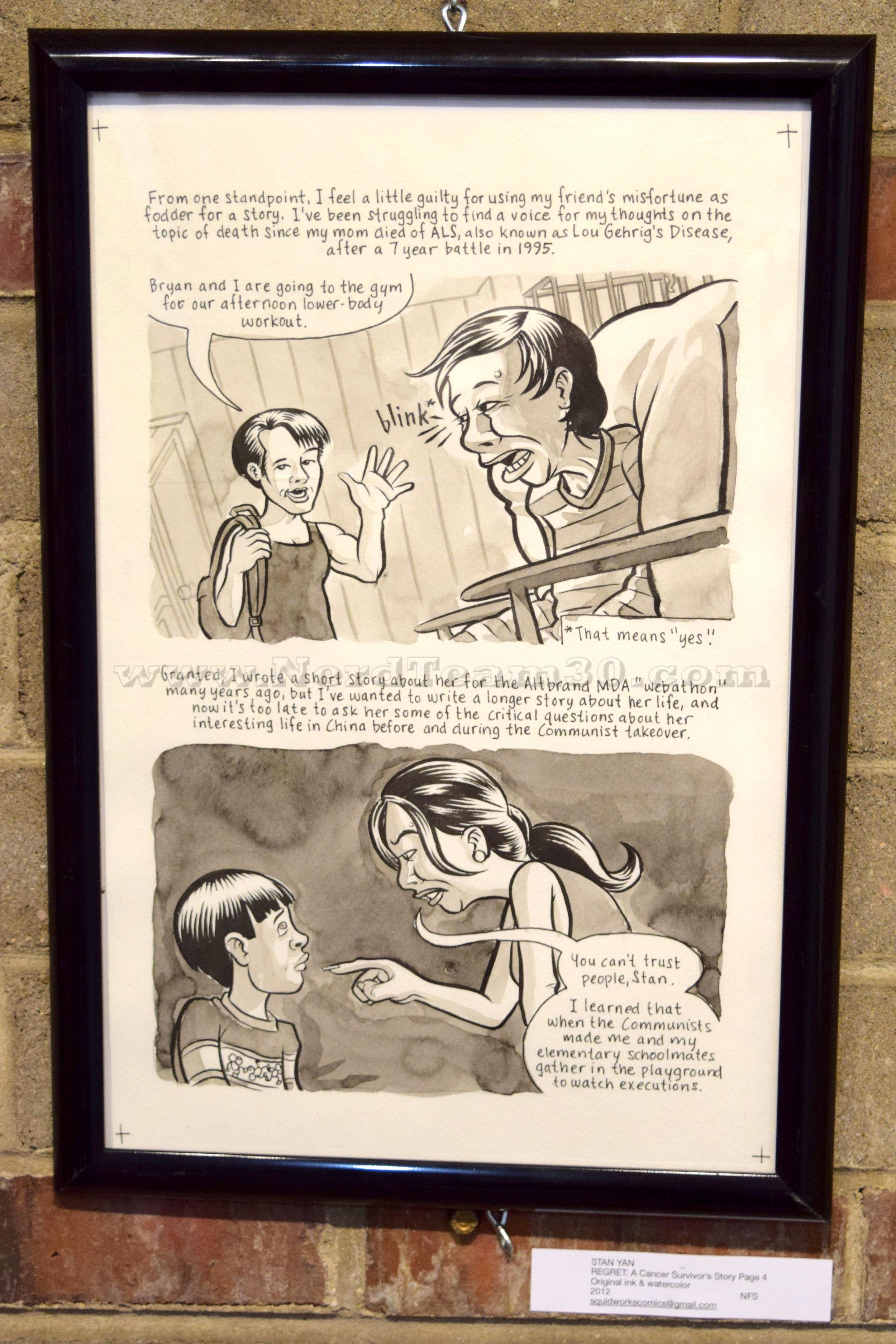"""Stan Yan """"Regret: A Cancer Survivor's Story"""", page 4 Original ink & watercolor 2012   NFS squidworkscomics@gmail.com"""