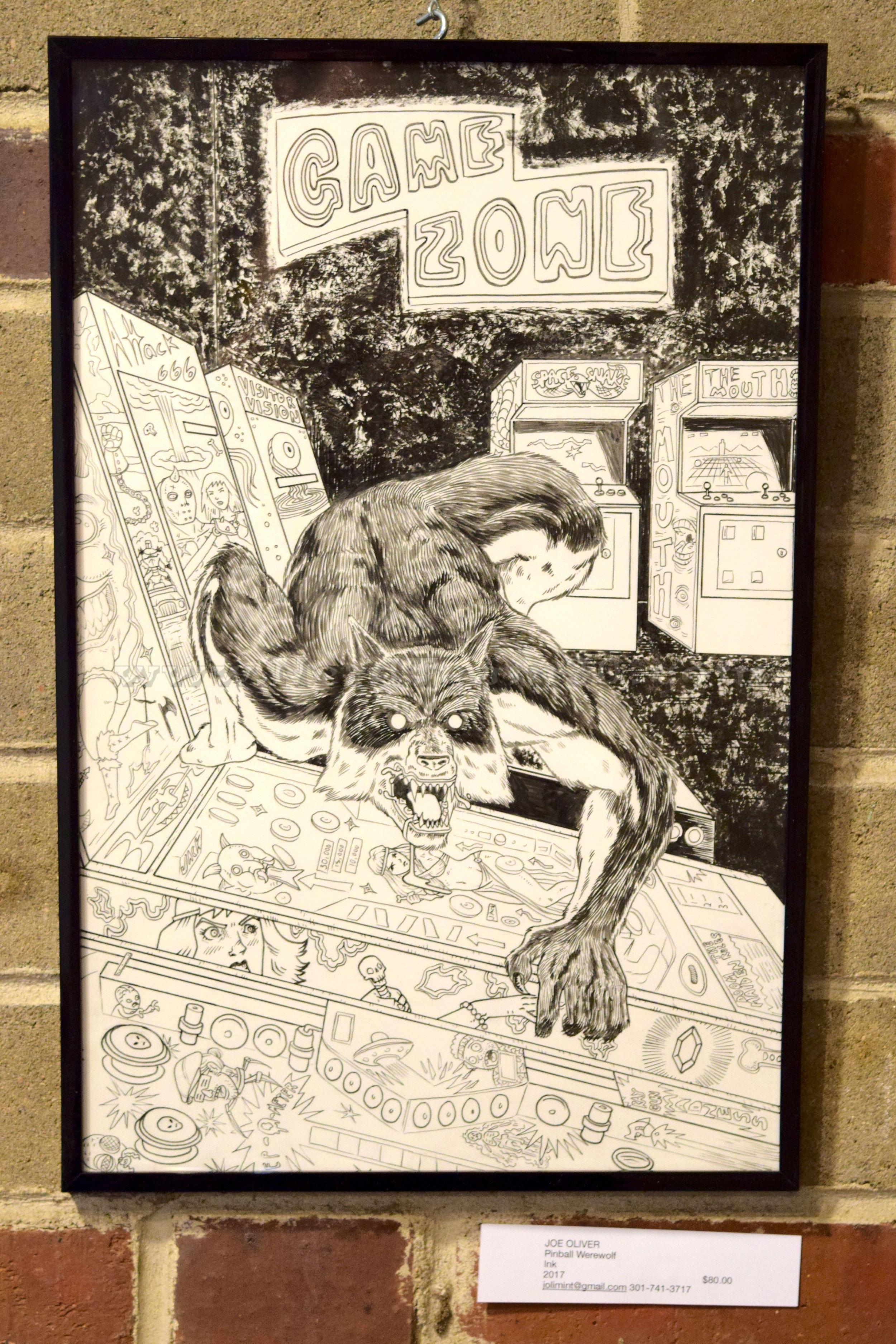 """Joe Oliver """"Pinball Werewolf"""" Ink 2017   $80 jolimint@gmail.com"""