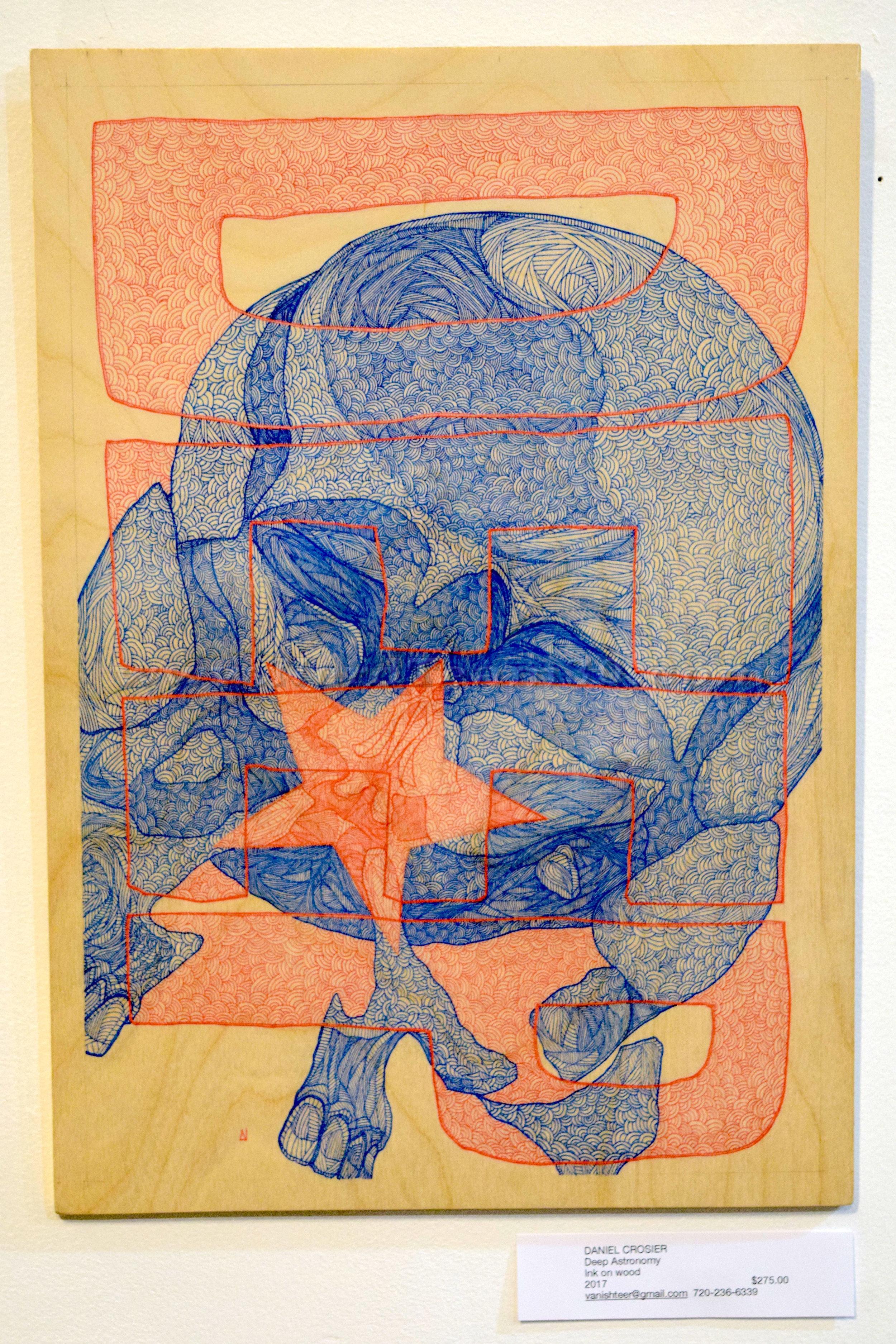 "Daniel Crosier ""Deep Astronomy"" Ink on wood 2017   $275 vanishteer@gmail.com"