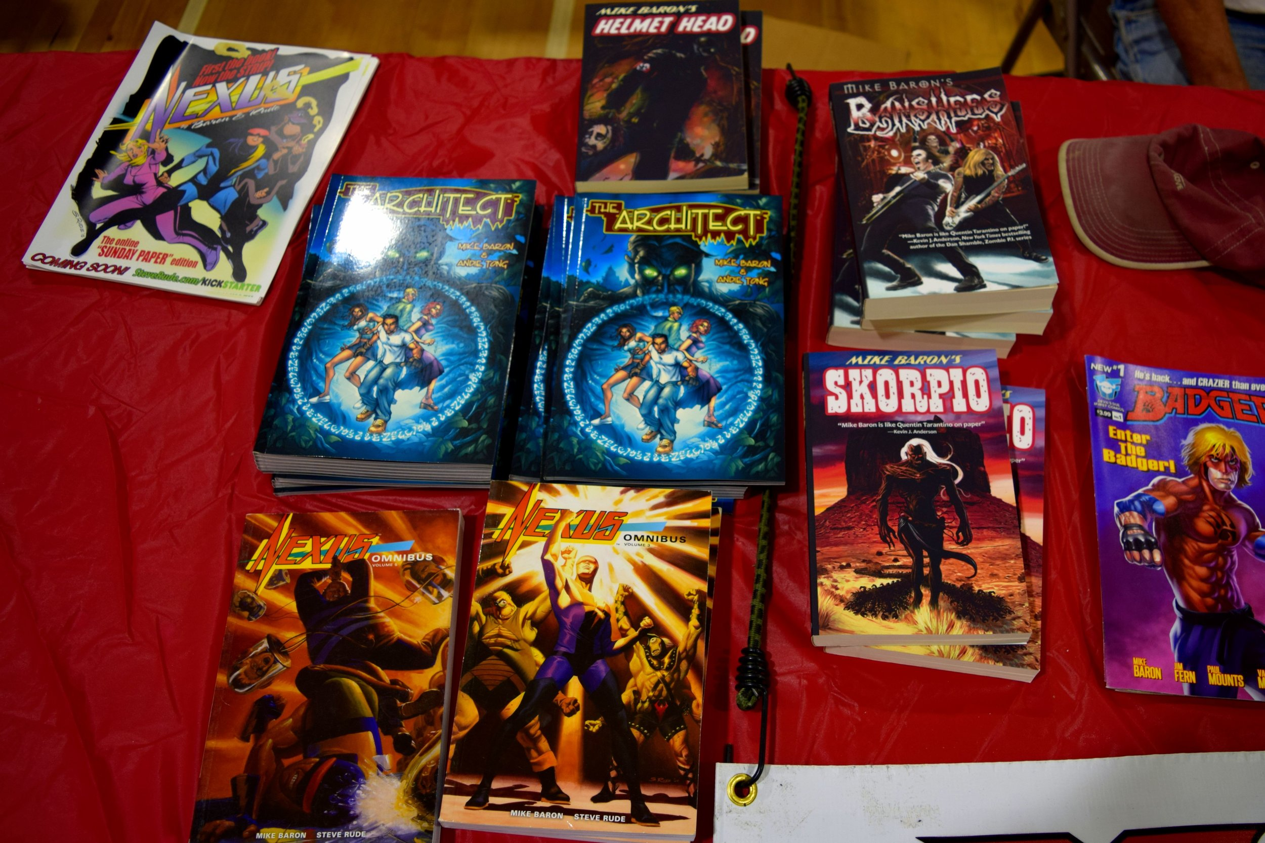 Novels from Mike Baron at Fort Collins Comic Con 2016.