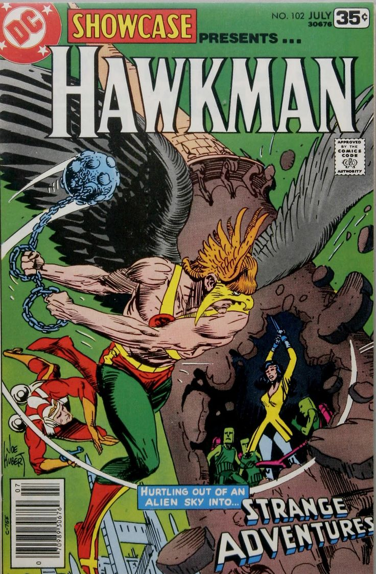 DC Showcase (1956) #102 featuring Hawkman. Cover by Joe Kubert.