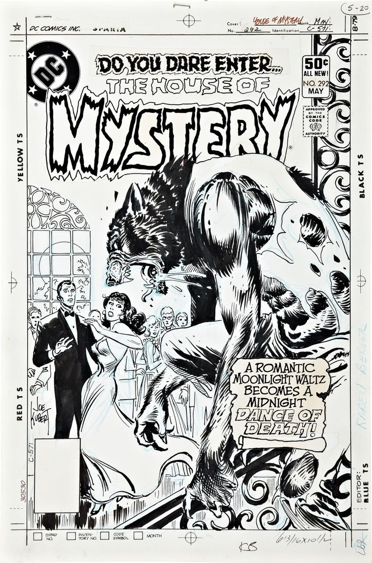 Original art for the cover to The House of Mystery (1951) #292 by Joe Kubert.