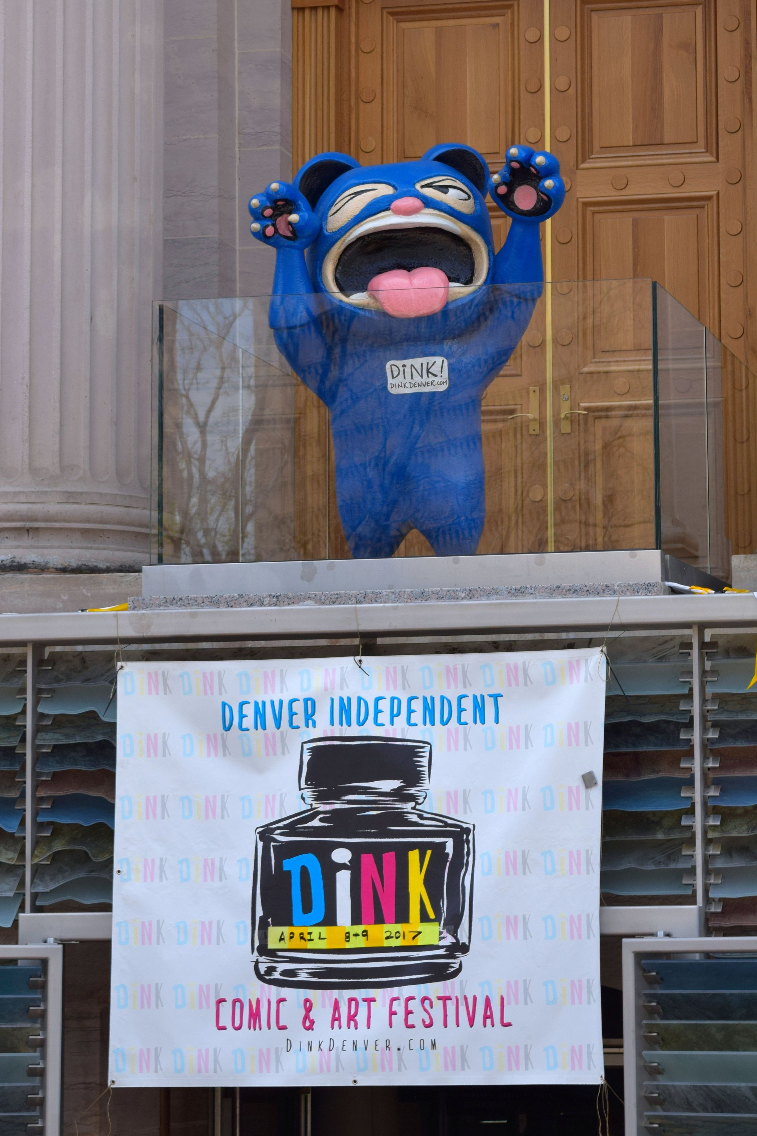 The DINK mascot, standing gaurd over the entrance.