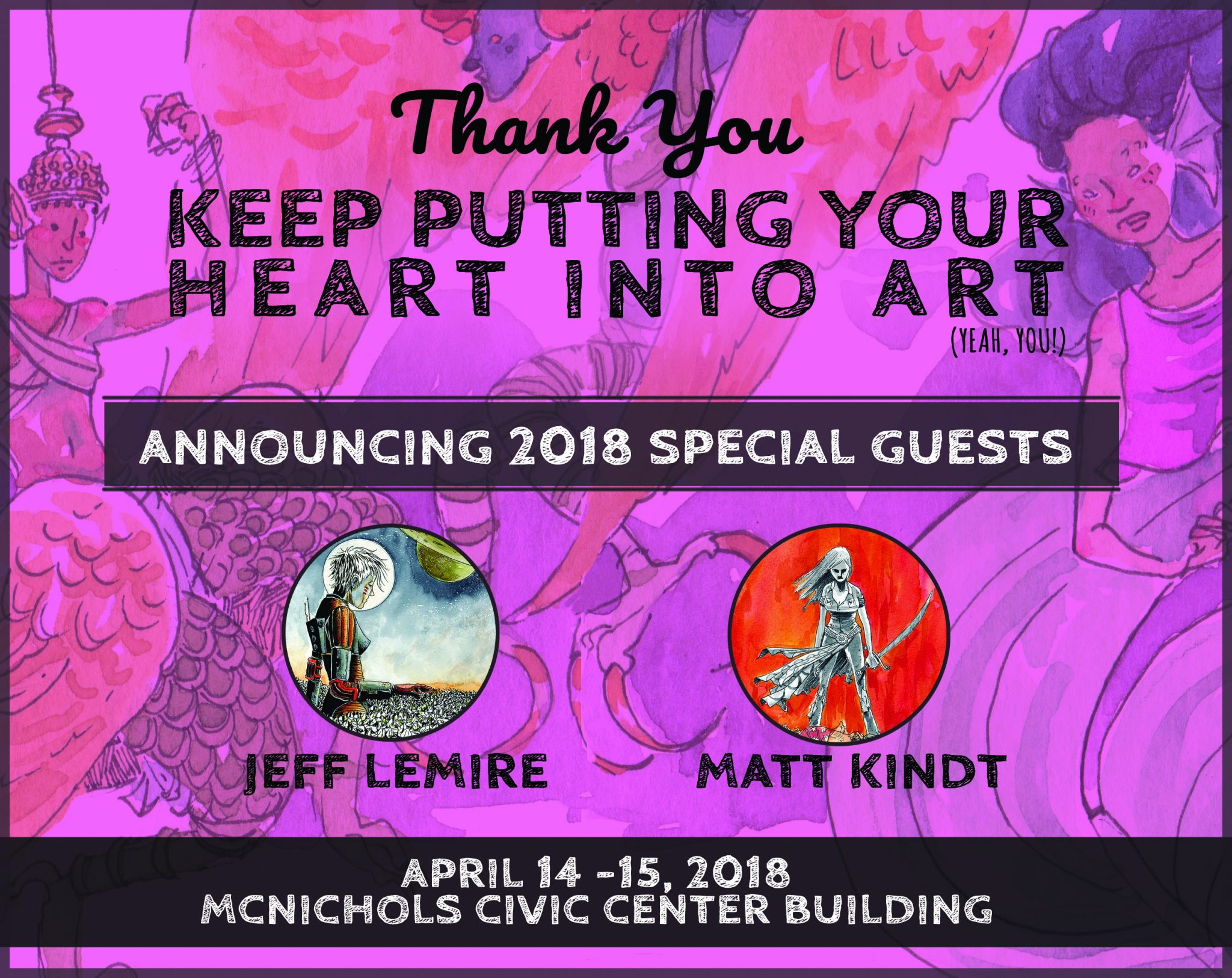 DINK 2018 guest announcement of Jeff Lemire & Matt Kindt.