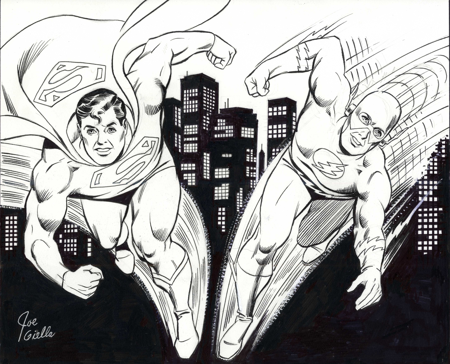 A commission from Joe Giella featuring Superman & The Flash.