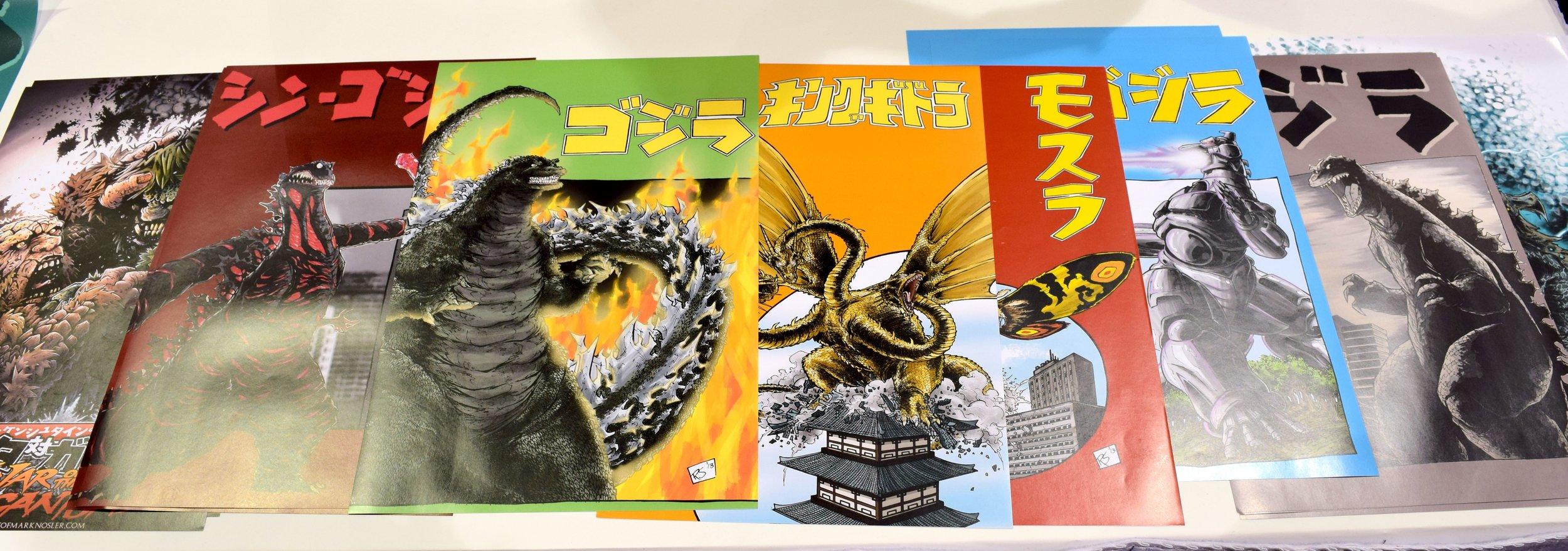 Kaiju posters at the Kodoja table in Phoenix Comic Con 2017.