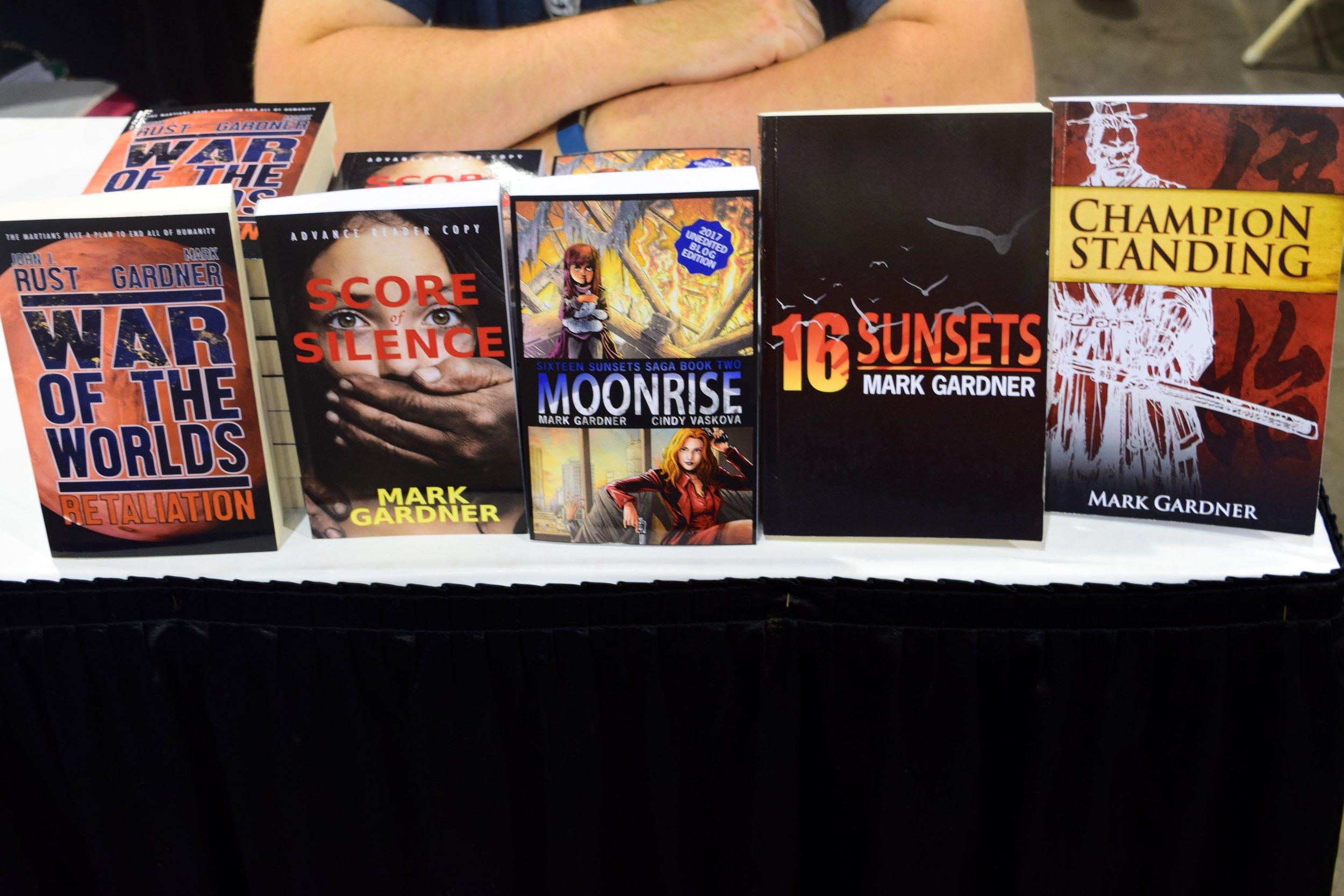 Books from Mark Gardner at Phoenix Comic Con 2017.