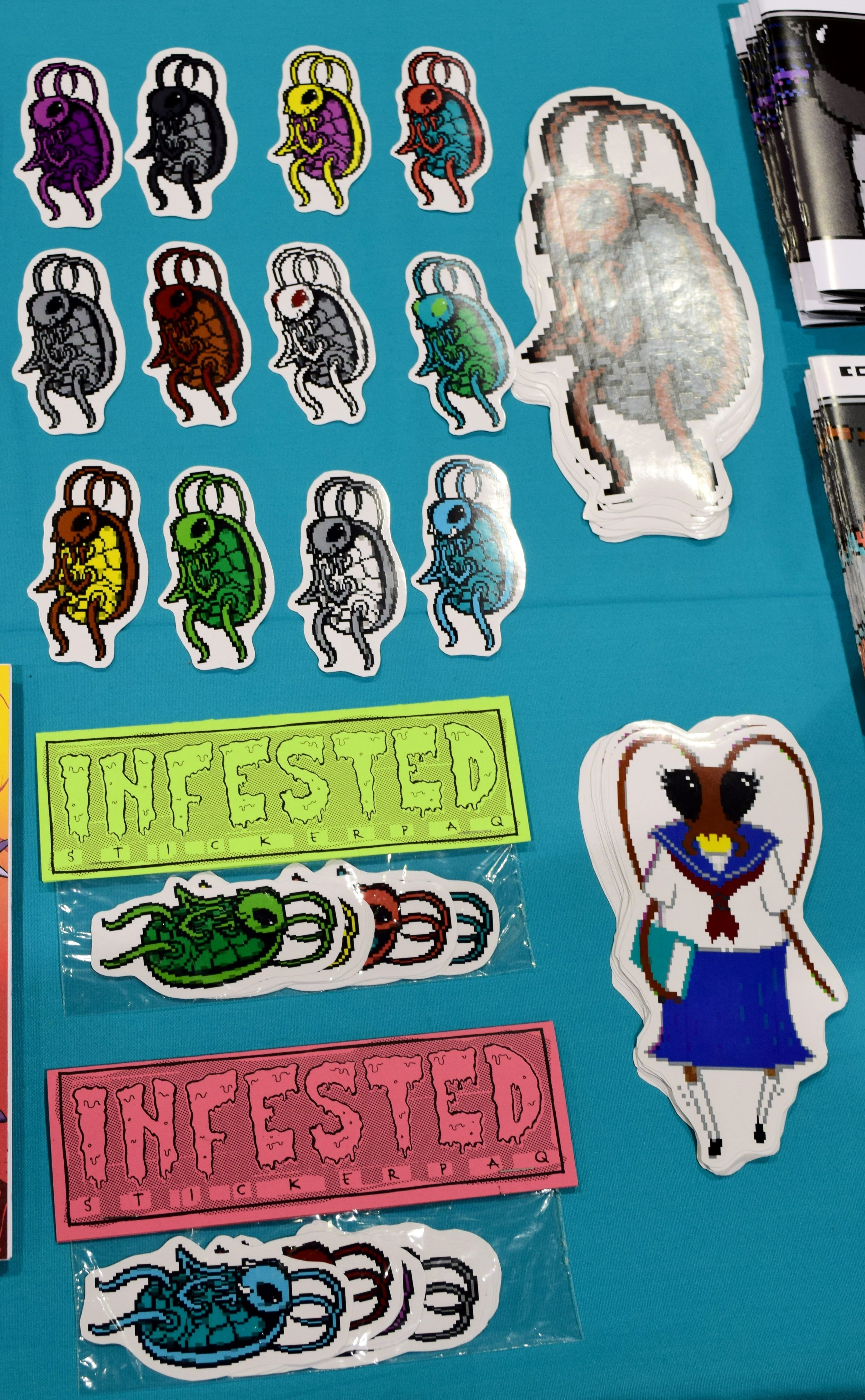 Cockroach stickers from Reset Survivor at Phoenix Comic Con 2017.