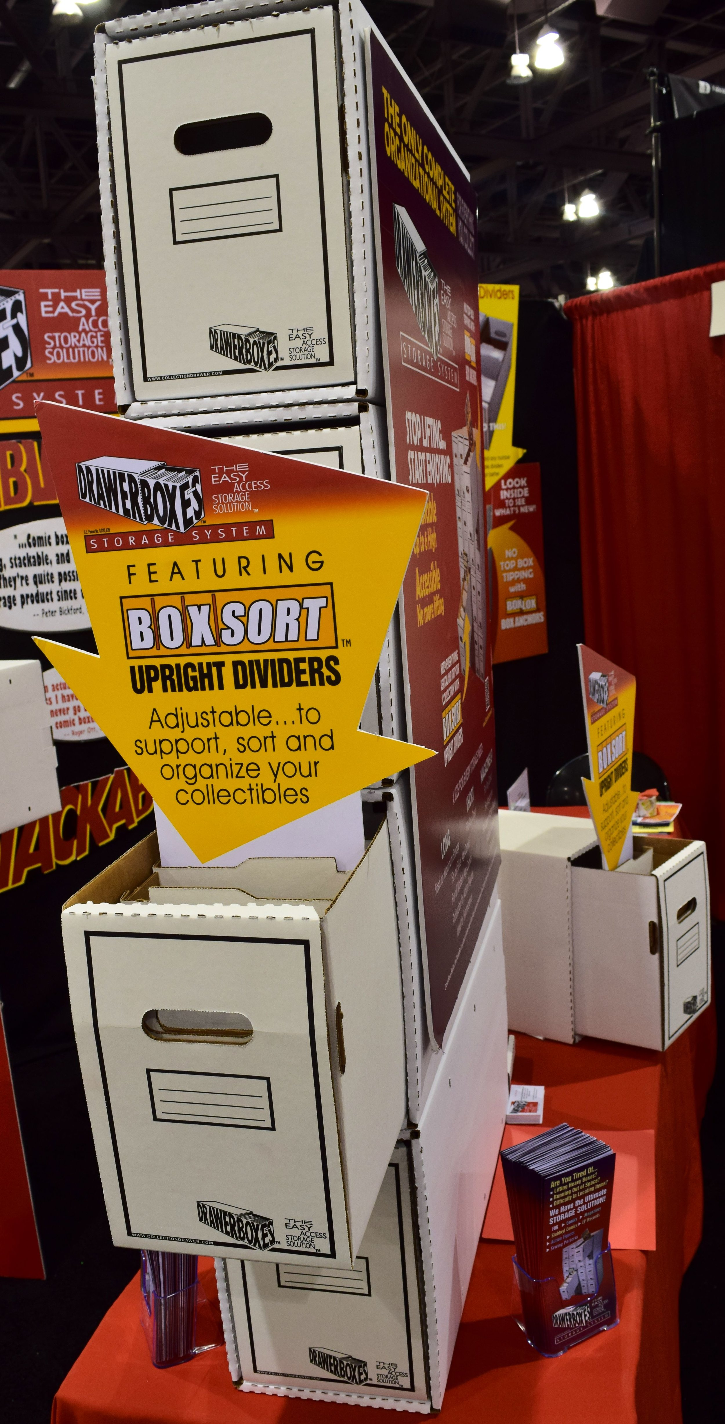 A DrawerBox Storage System table display at Phoenix Comic Con 2017.
