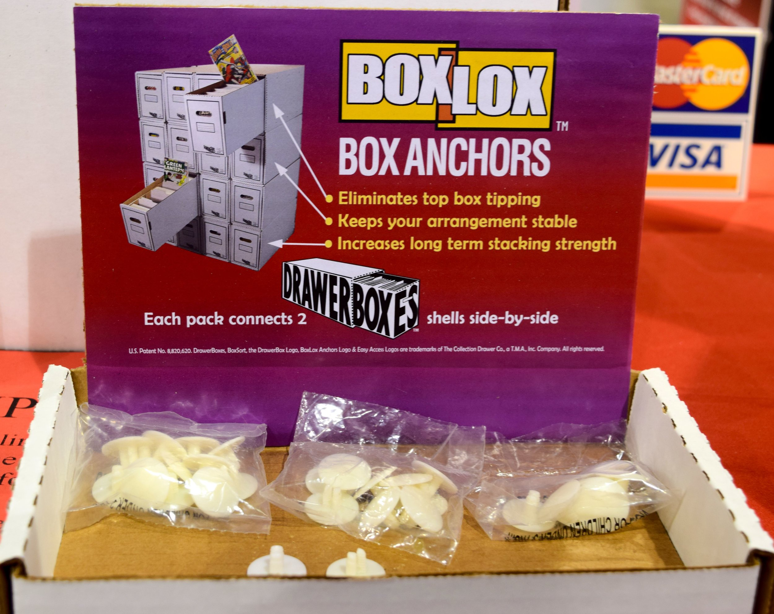 Box Lox box anchors for the DrawerBox Storage System.