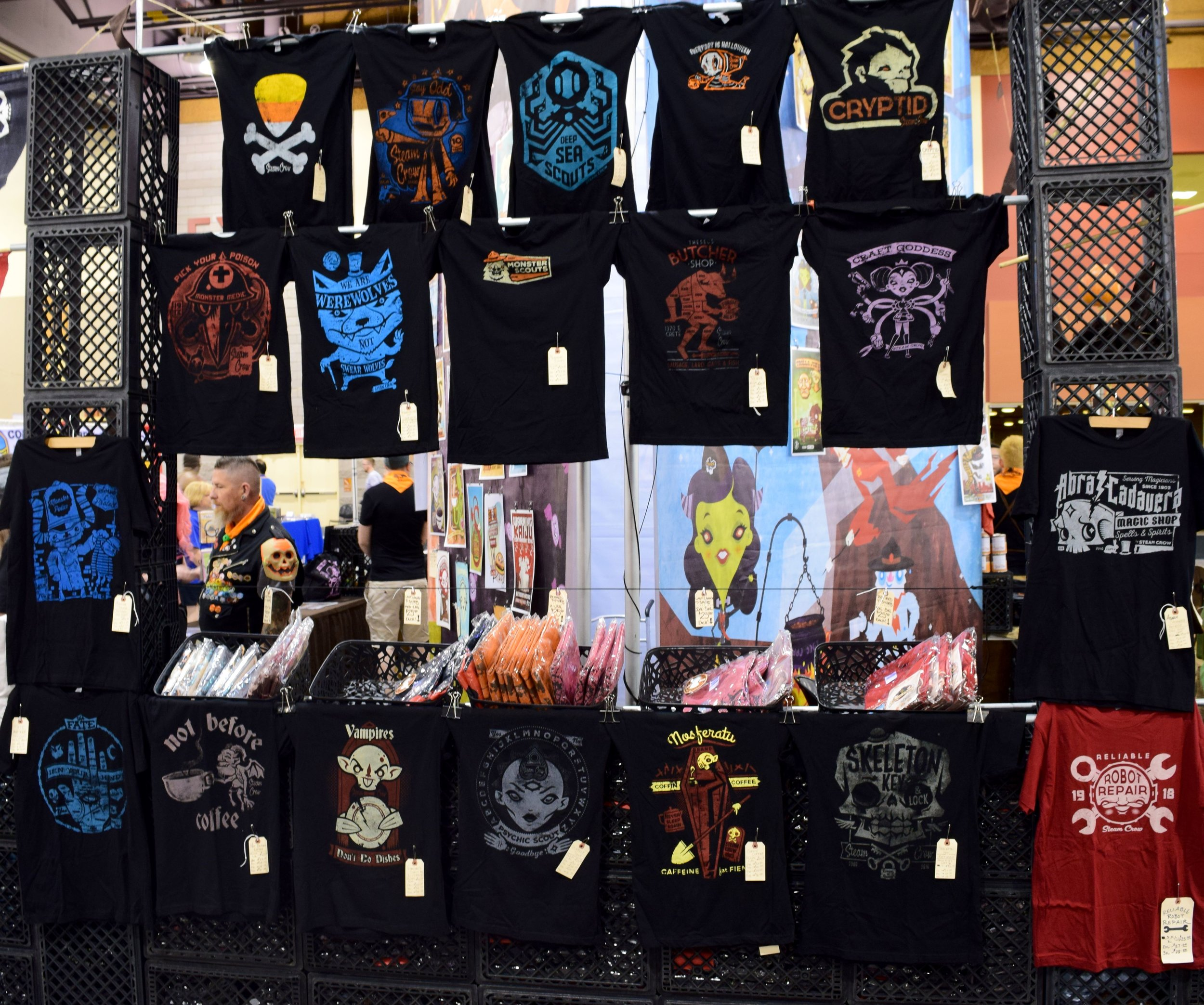 T-shirts from Steam Crow at Phoenix Comic Con 2017.