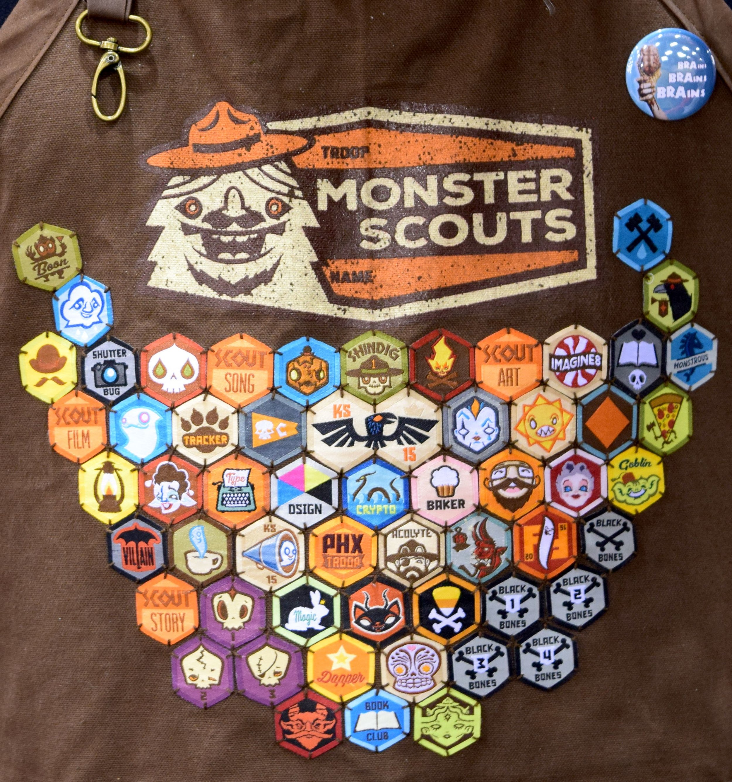 The Monster Scout badges worn by Daniel Monster Davis (detail).