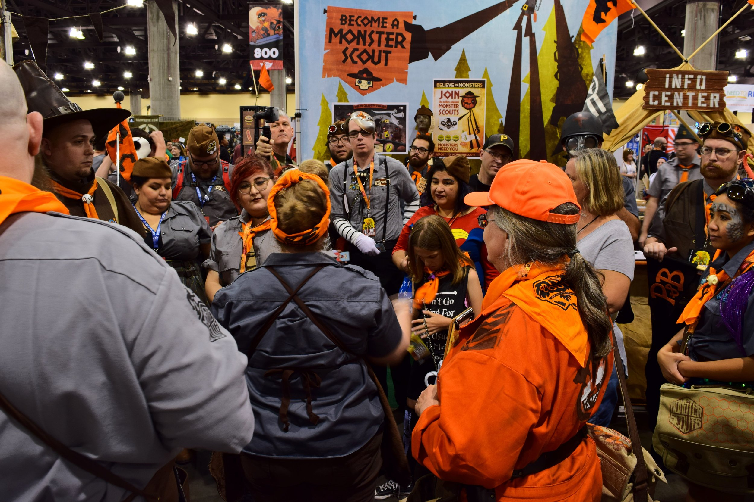 Dawna Davis leads the Monster Scouts meeting at Phoenix Comic Con 2017.